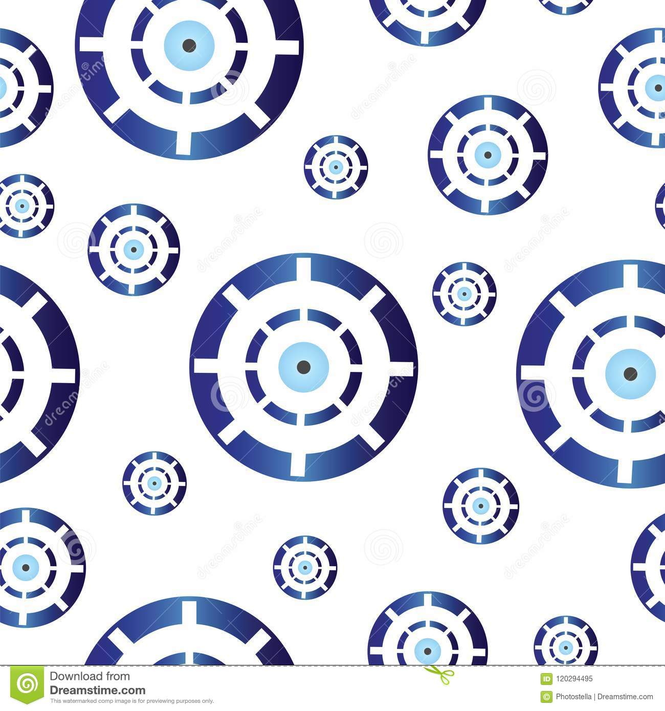 Seamless Tileable Texture With Blue Greek Evil Eye Stock Vector