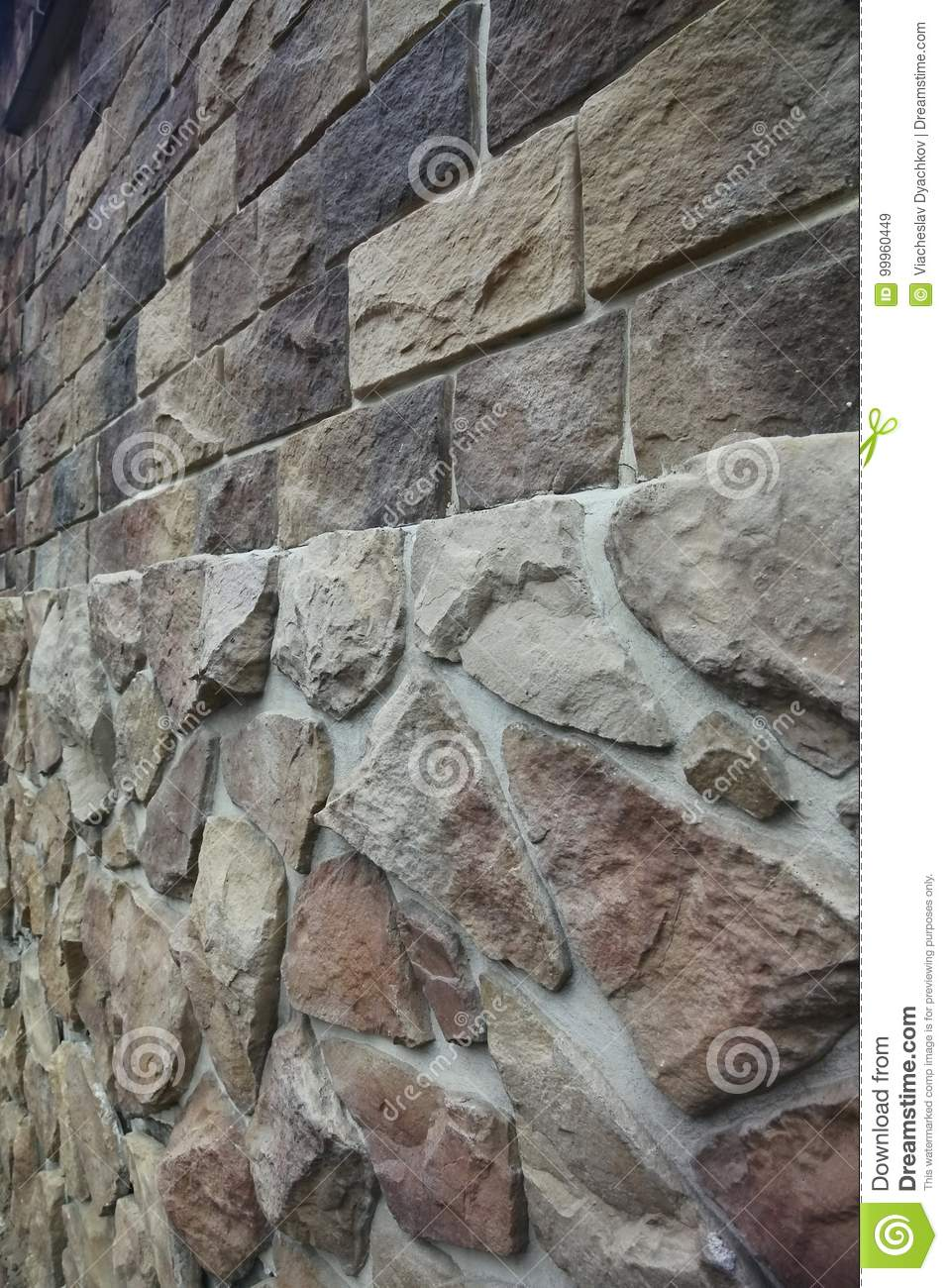 Stacked Stone Wall At An Angle Stock Image Image Of Home