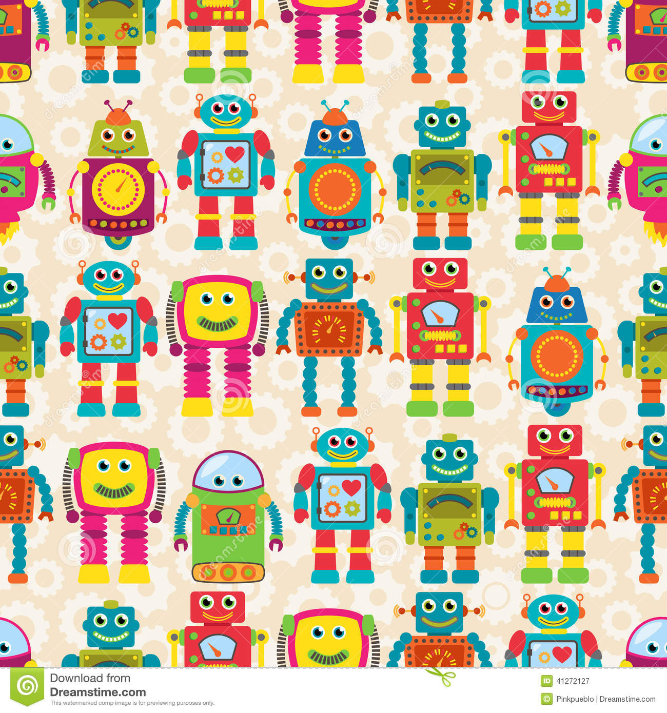 Seamless Tileable Vector Background Pattern With Cute