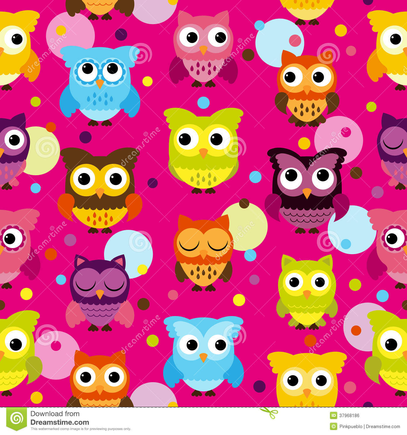 Bright Pink Seamless and Tileable Vector Owl Background Pattern
