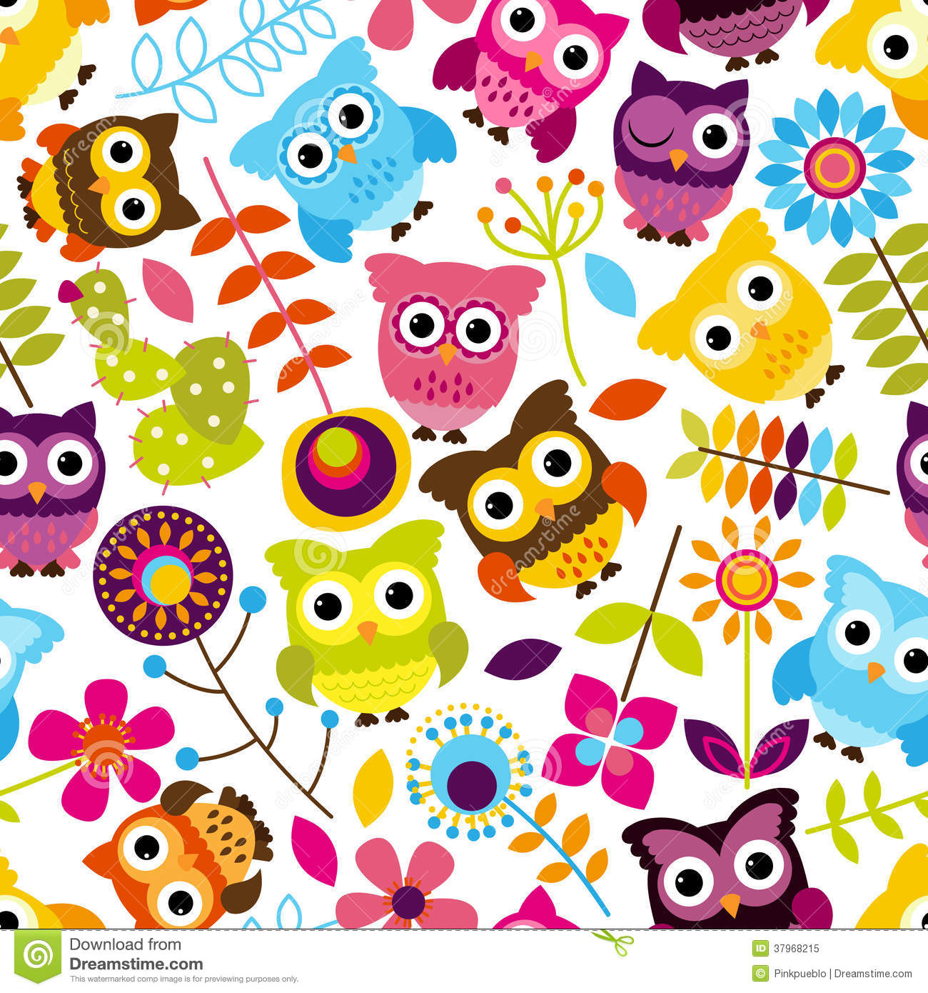 seamless and tileable vector owl background pattern royalty free