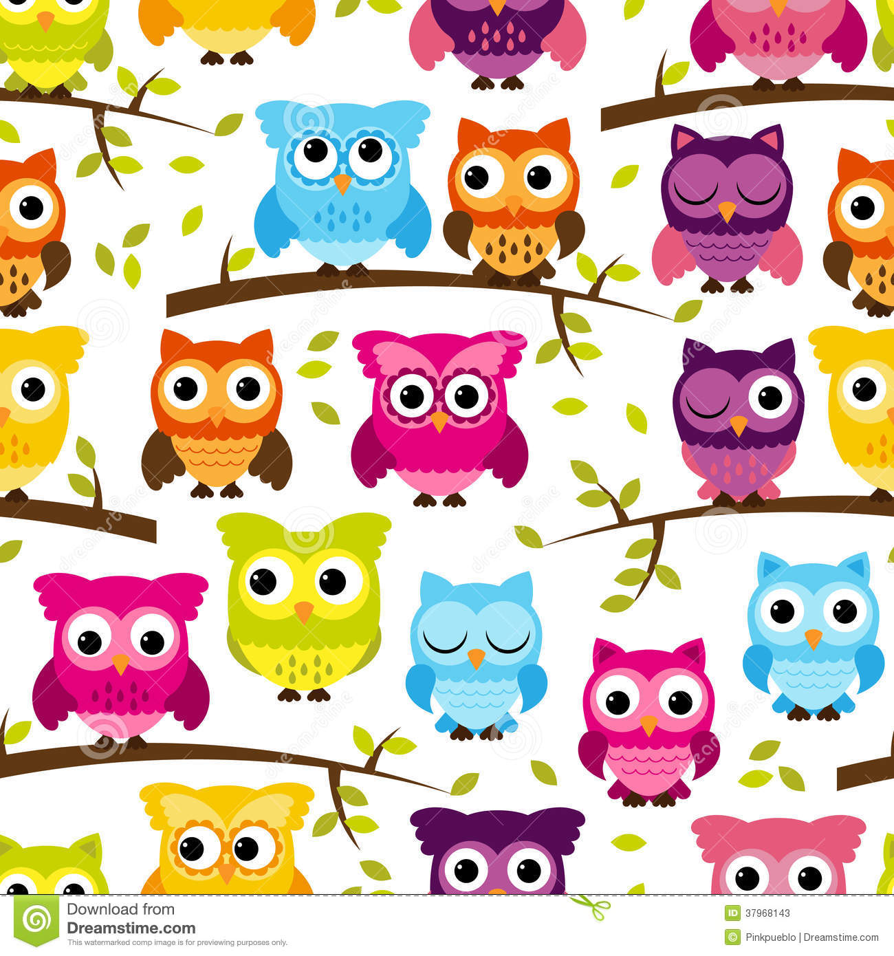 Seamless And Tileable Vector Owl Background Pattern Stock ...