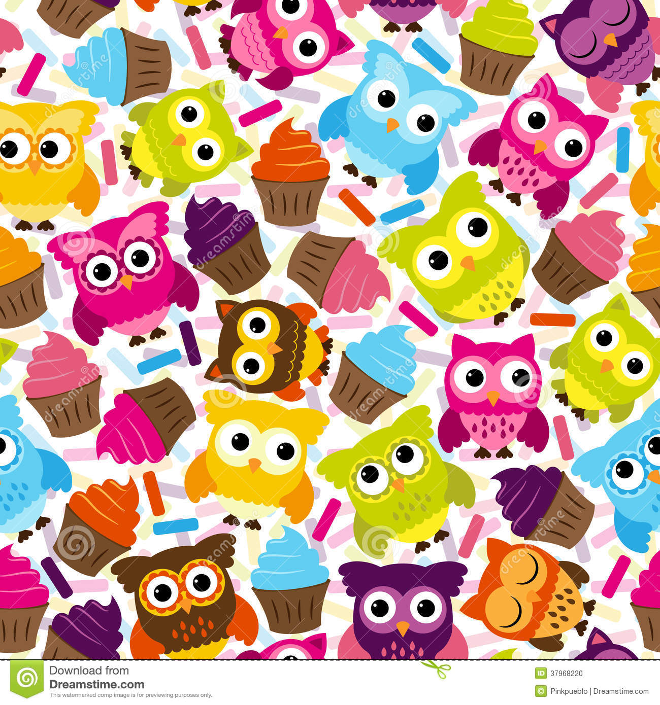 Seamless And Tileable Vector Owl Background Pattern Stock