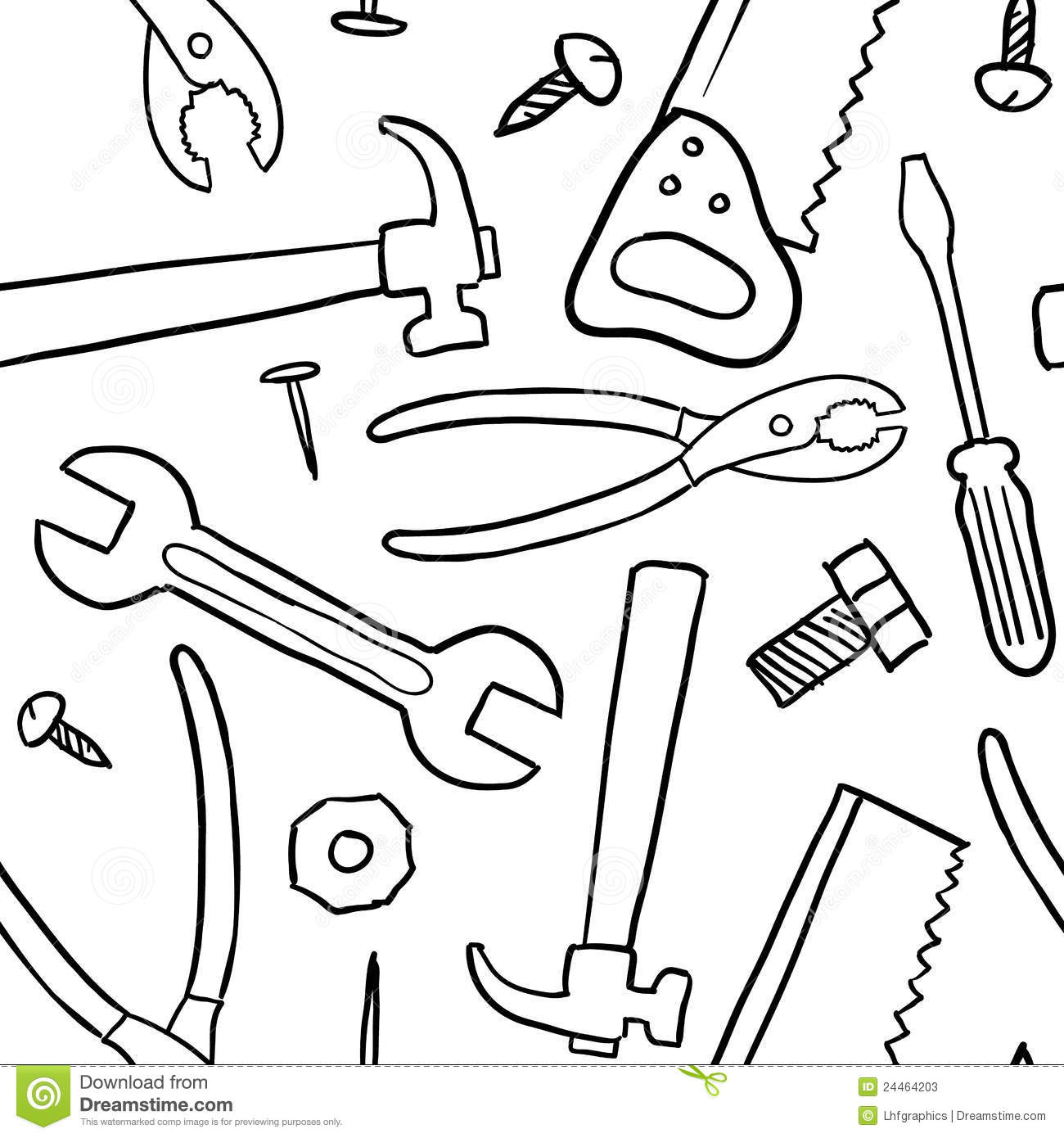 Seamless tools vector background stock vector image for Tools coloring page