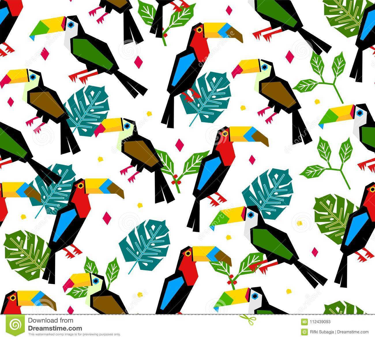 Seamless toucan pattern with tropical leaf on white background