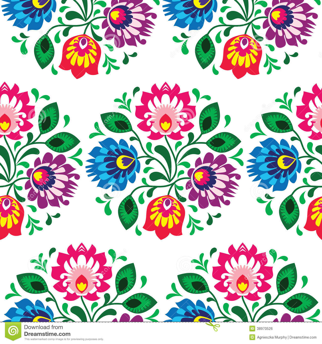 Seamless Traditional Floral Pattern From Poland Stock