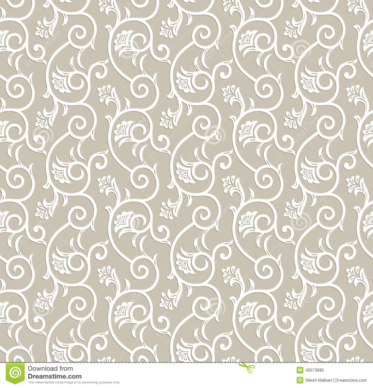 Seamless Traditional Floral Wallpaper Stock Illustration