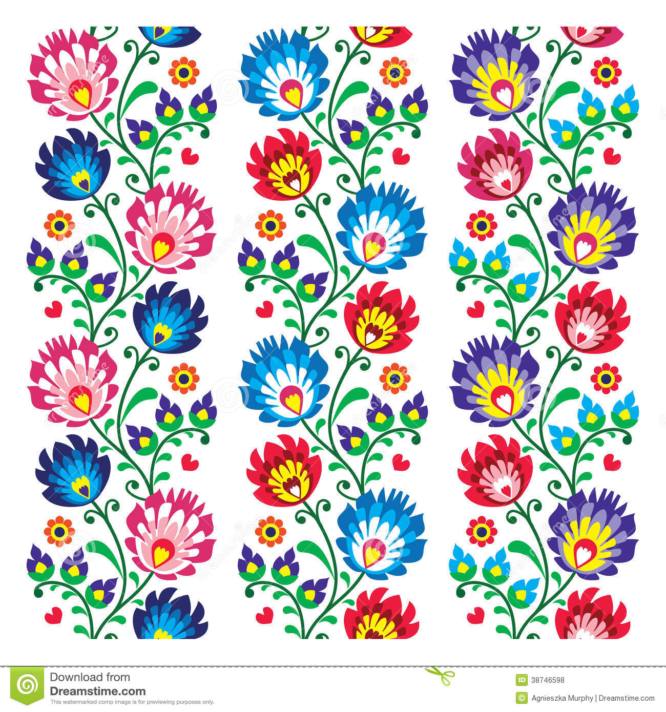 folk pattern with flowers stock vector illustration of background
