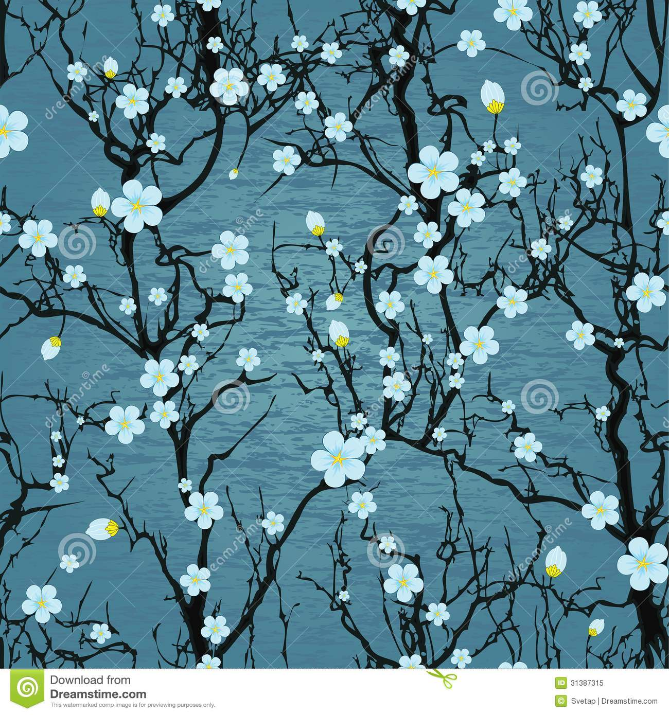Seamless tree pattern. Japanese cherry blossom