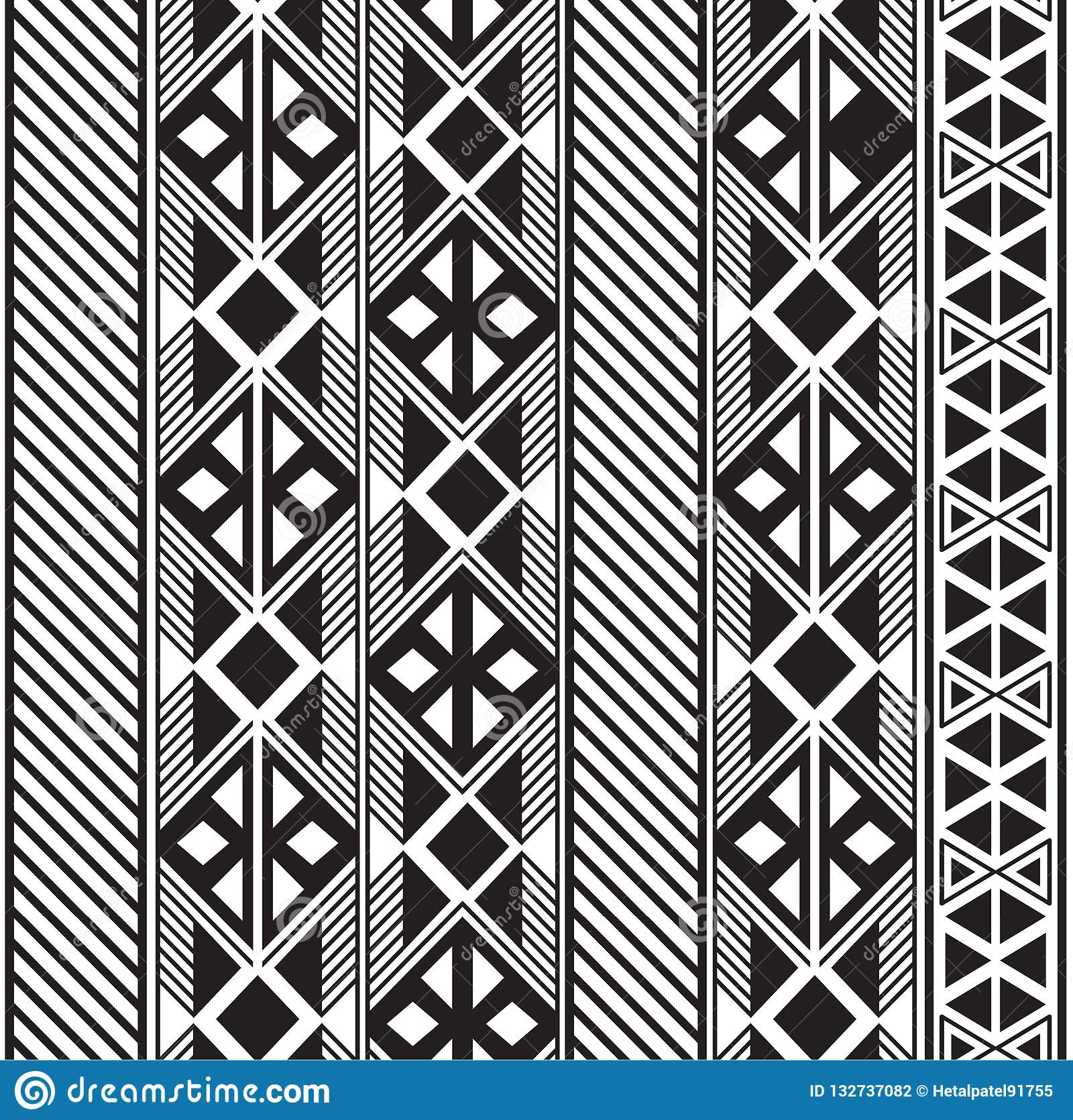 Seamless tribal pattern design in black and white