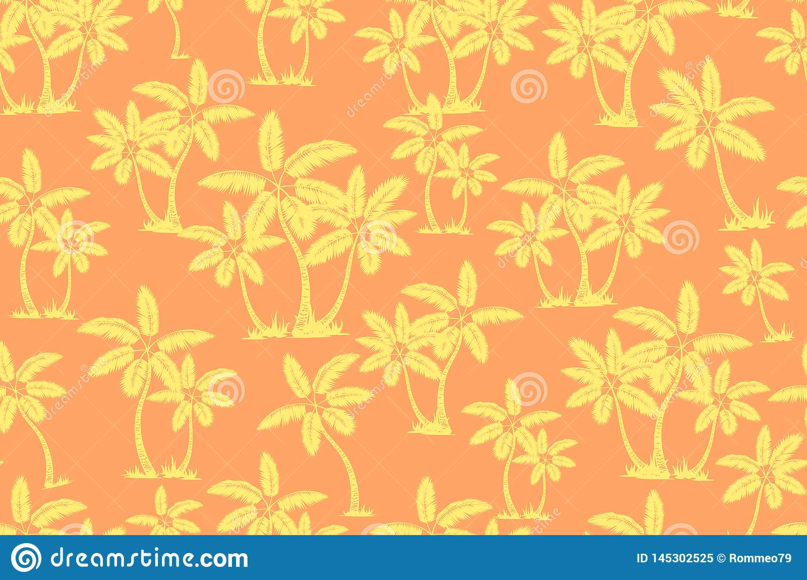 Seamless tropical palms pattern. Summer endless hand drawn vector background of palm trees can be used for wallpaper, wrapping