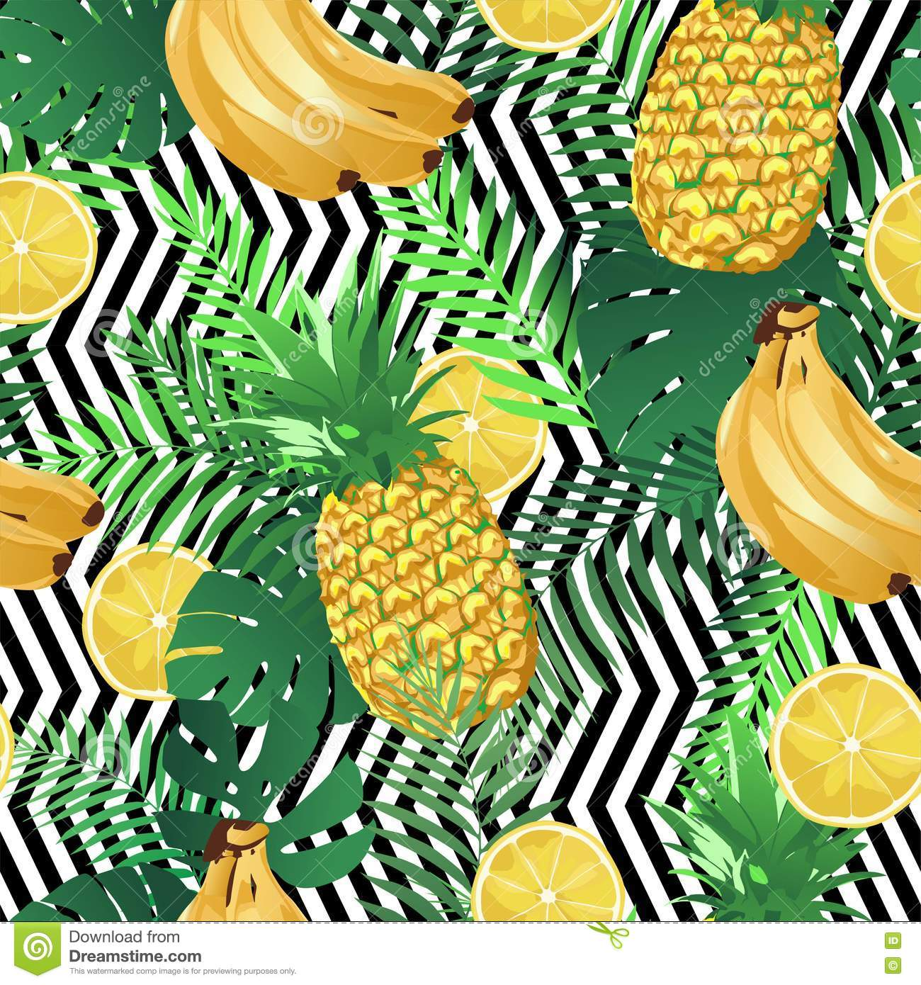 Wall Stickers Jungle Seamless Tropical Pattern With Bananas Lemons Palm Leaves