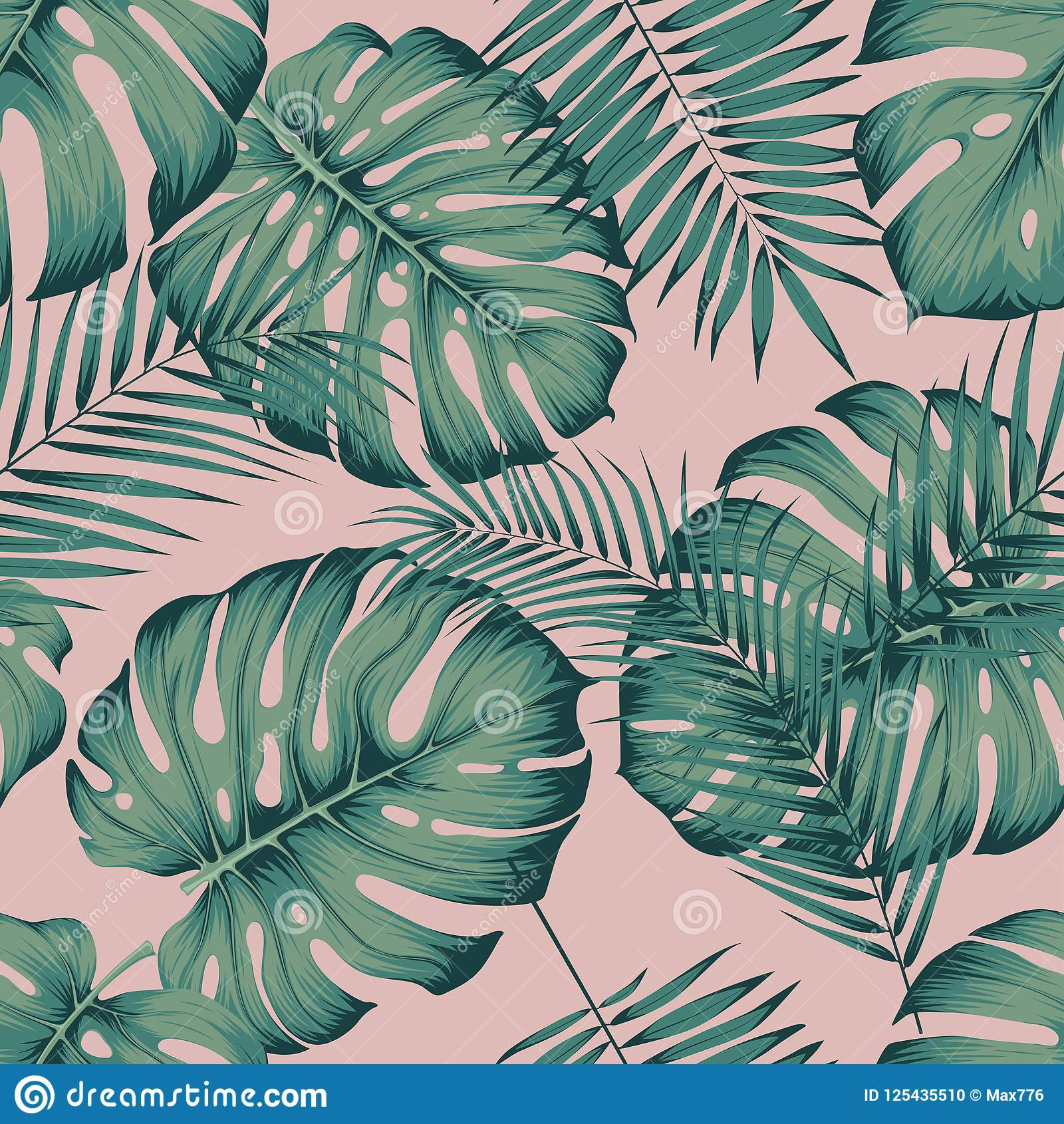 Seamless Tropical Pattern With Leaves Monstera And Areca