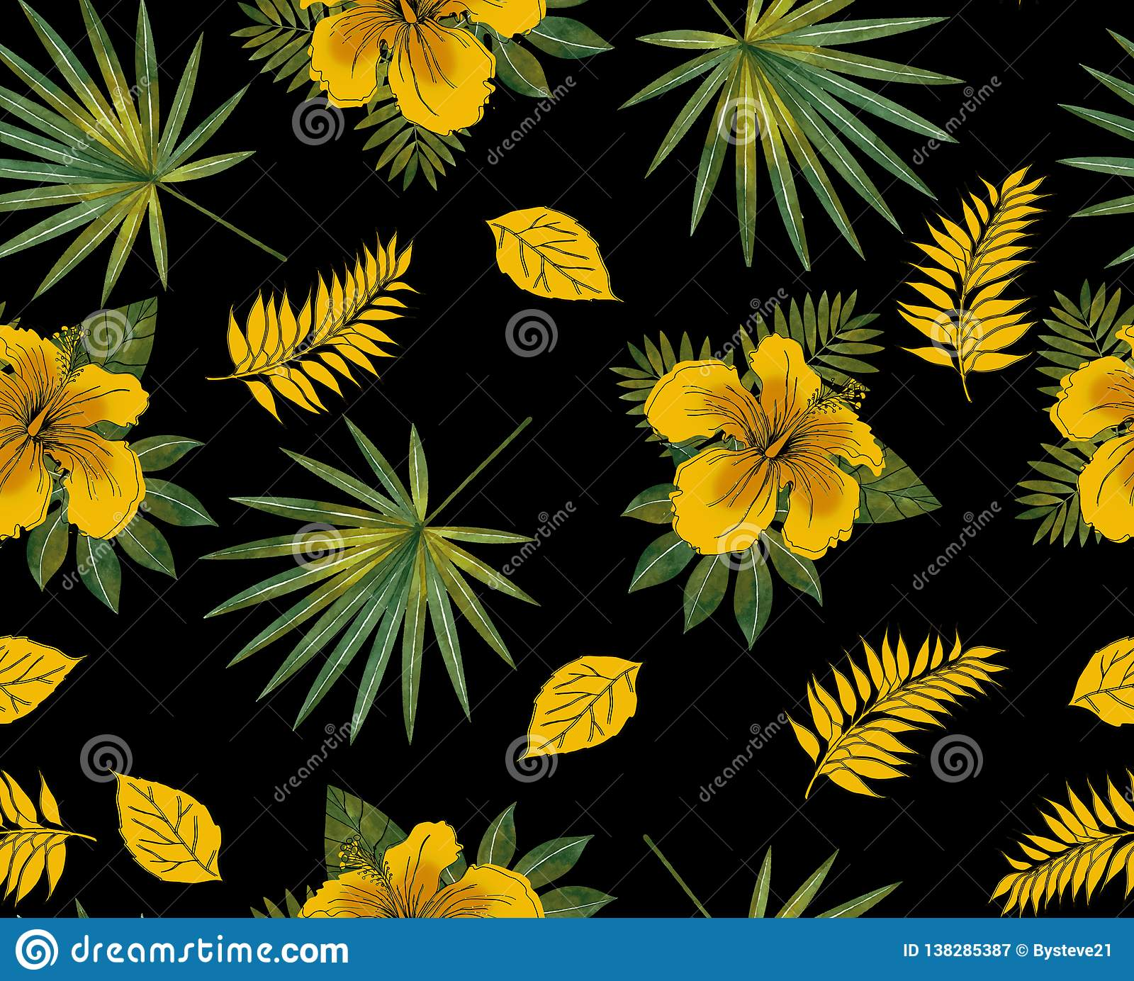 Seamless Tropical Pattern With Yellow Hibiscus Rosa Exotic Flower