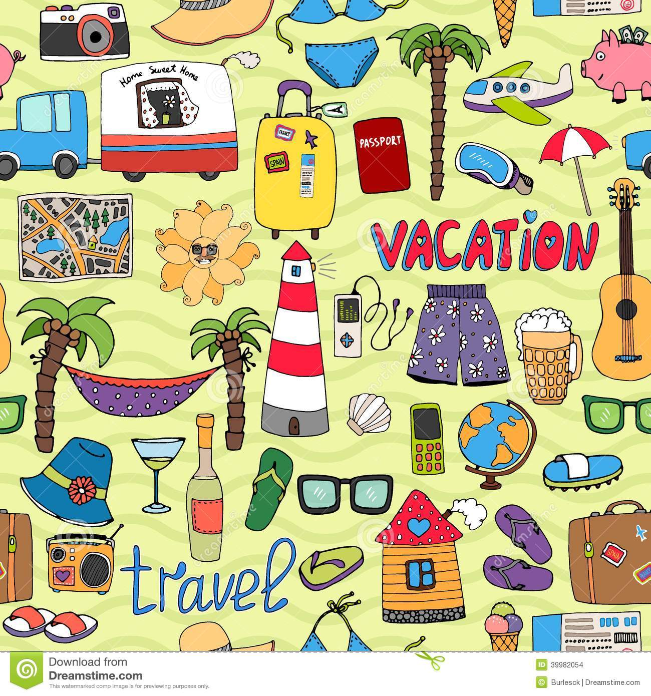 Seamless Tropical Vacation And Travel Pattern Stock Vector