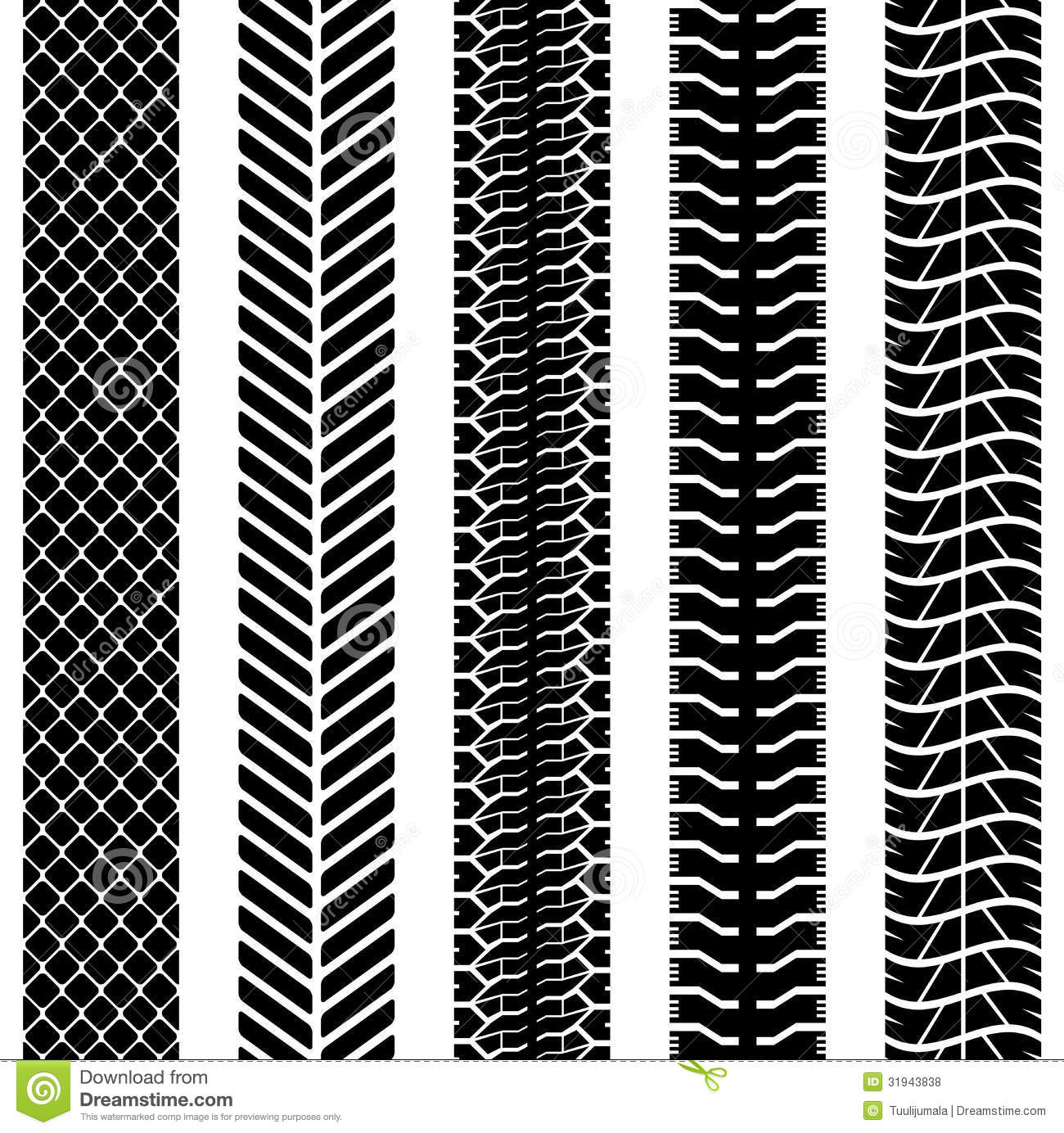 Black and white seamless truck tyre tracks template