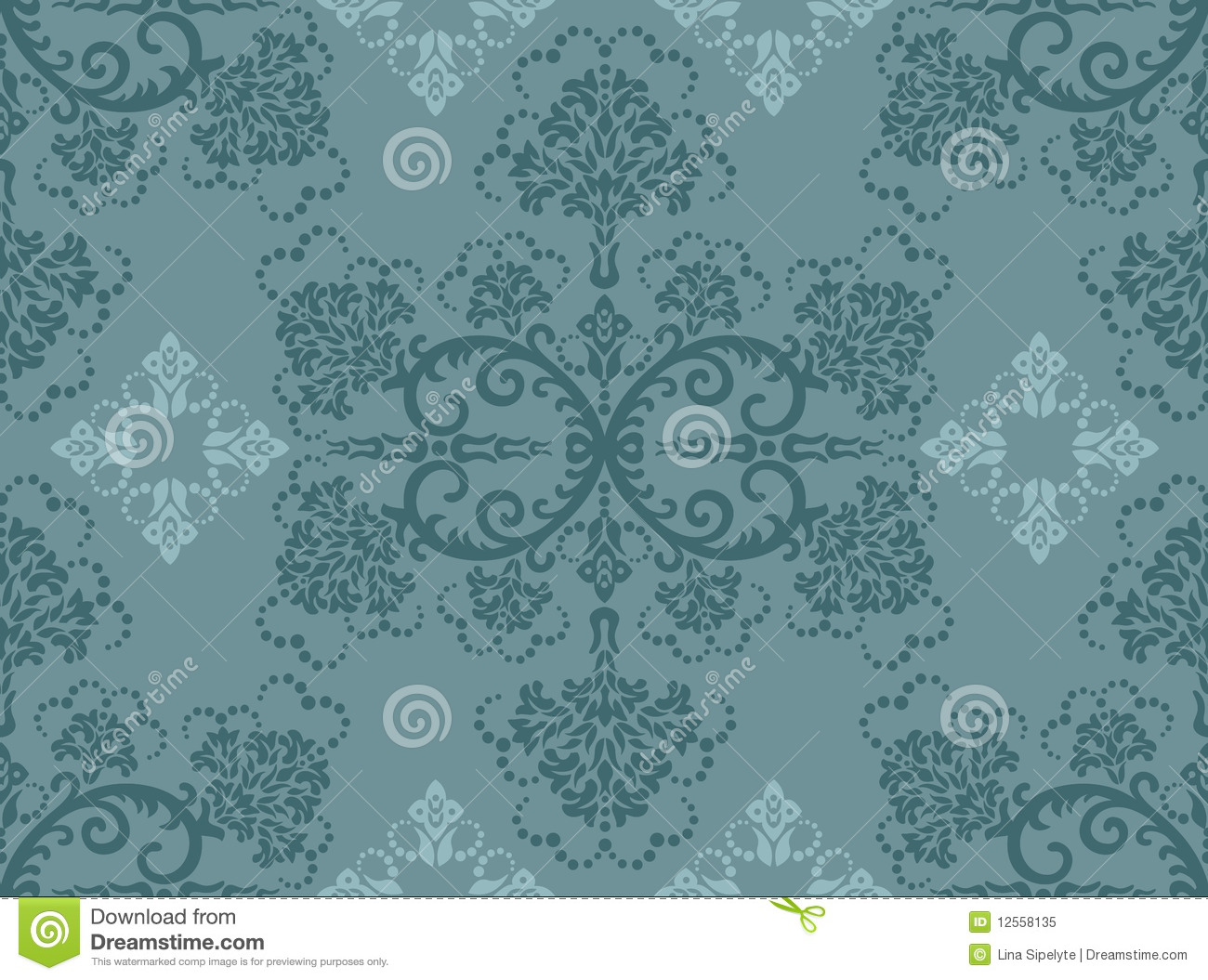 Seamless Turquoise Floral Wallpaper Stock Vector Illustration Of