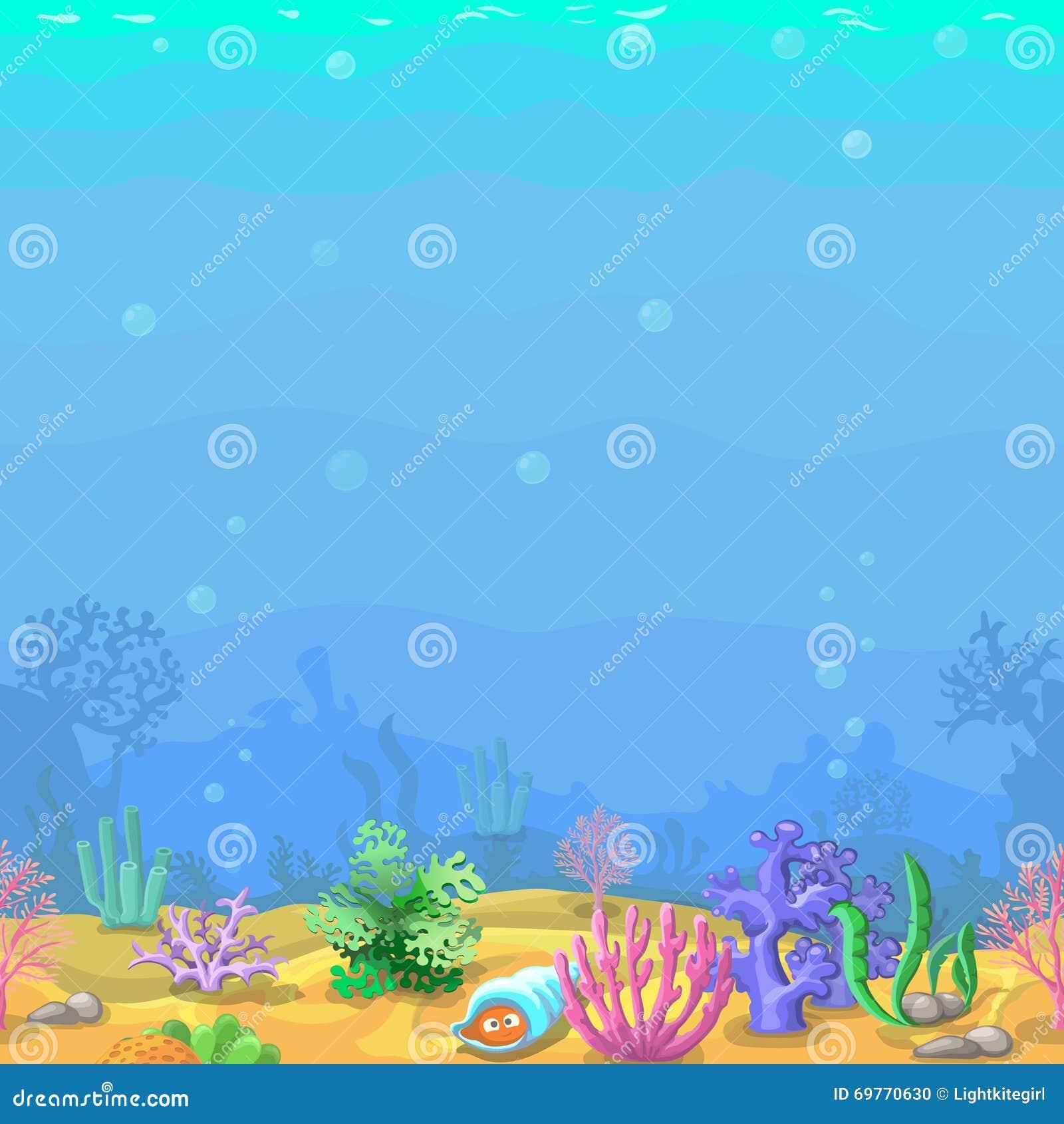 seamless underwater landscape in cartoon style stock