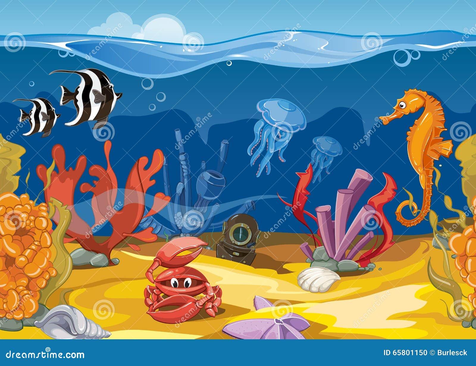 Seamless underwater landscape in cartoon style. Vector illustration