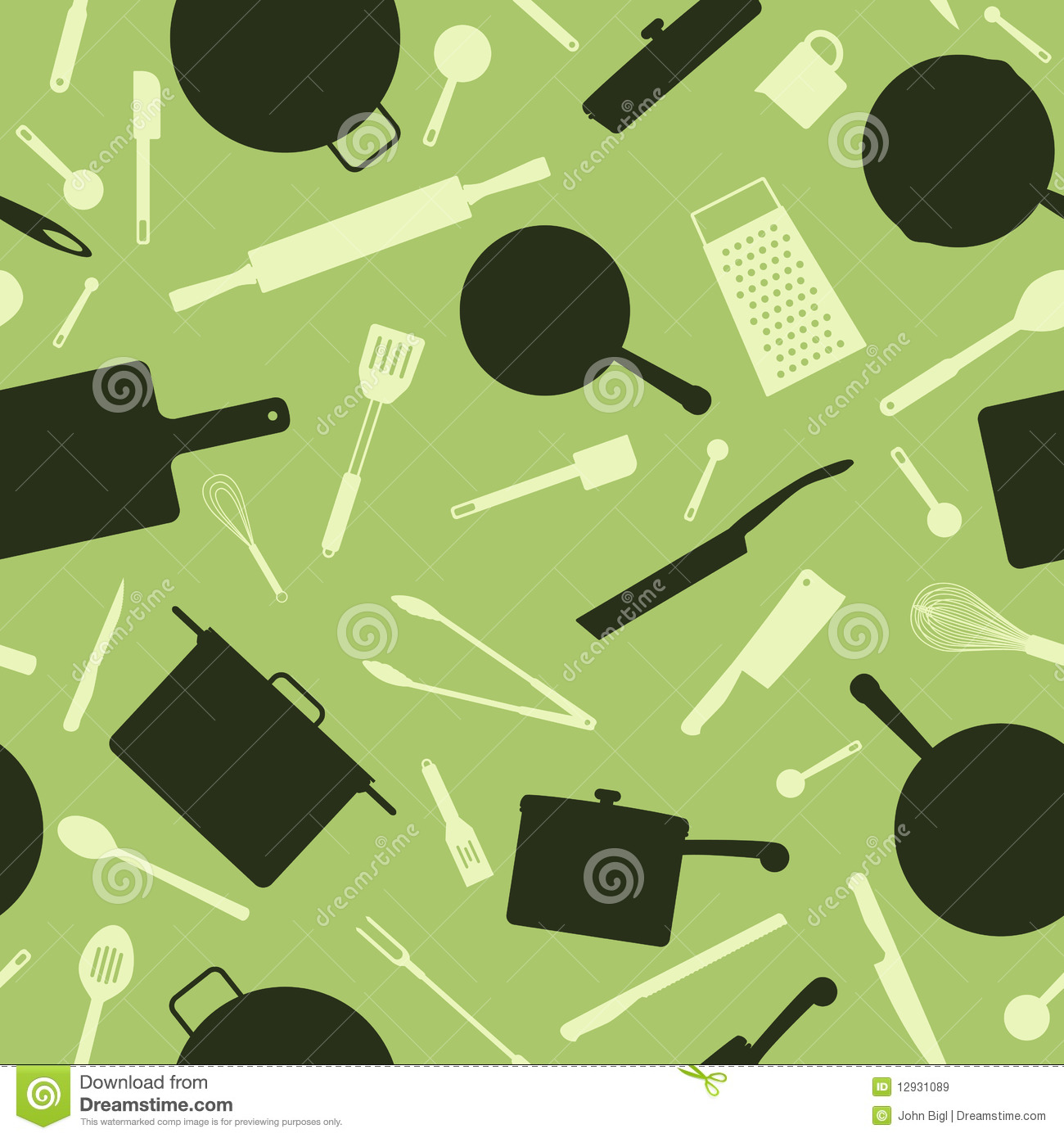 Kitchen Utensils Background: Seamless Utensil Background Royalty Free Stock Images