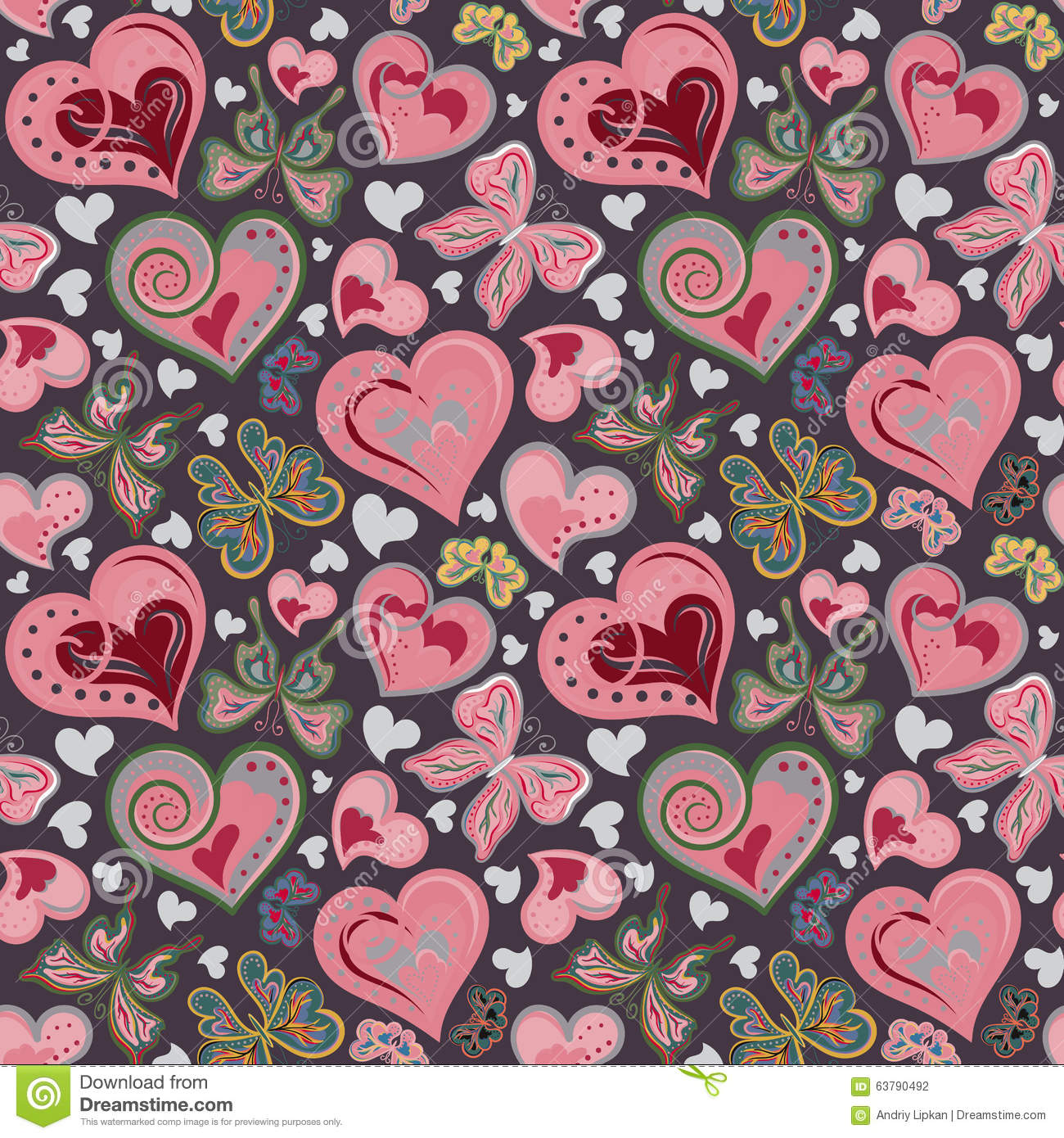 Seamless Valentine Pattern With Colorful Vintage Pink And Brown