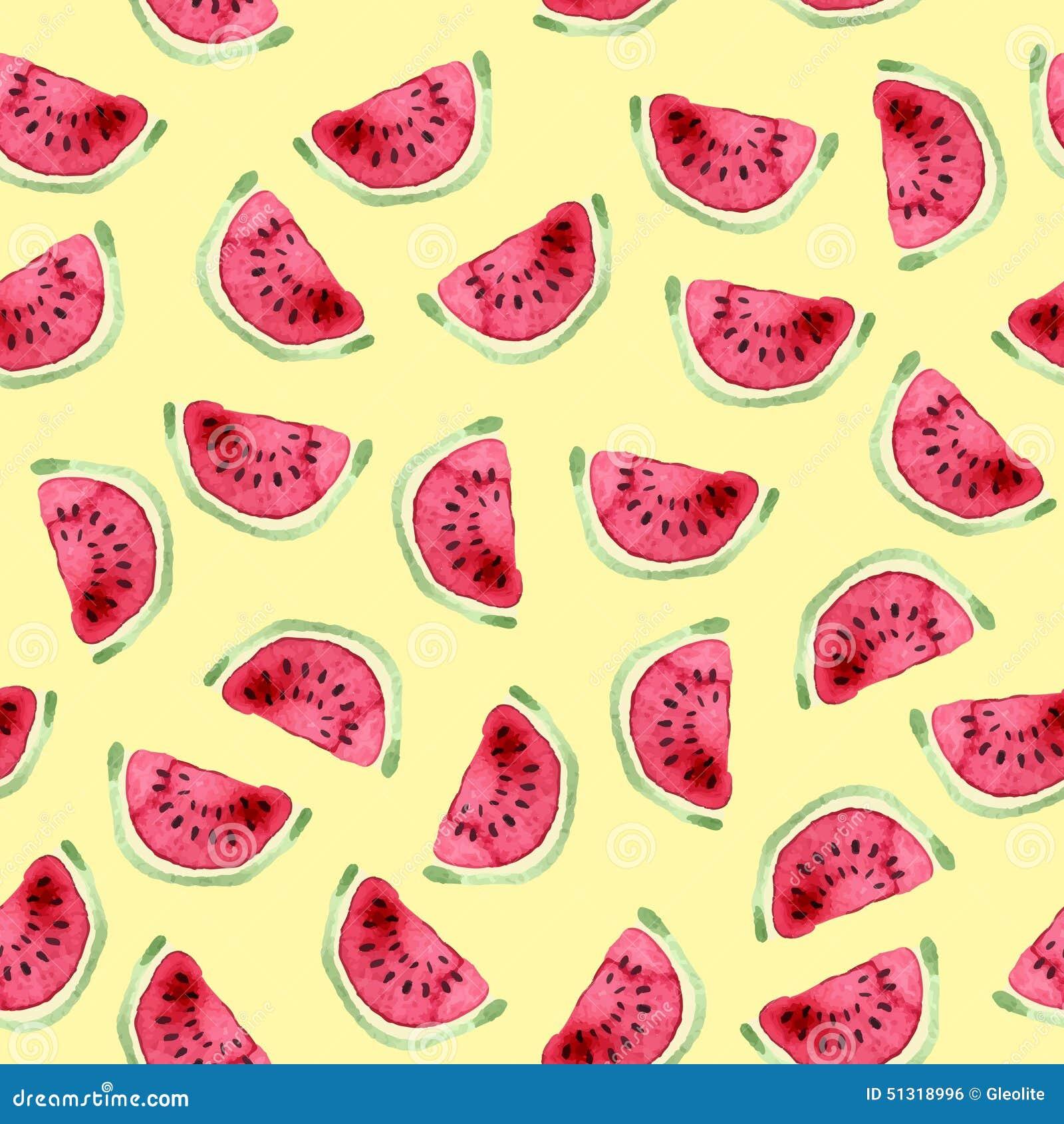 Seamless vattenmelon för modell Hand dragen vattenfärg
