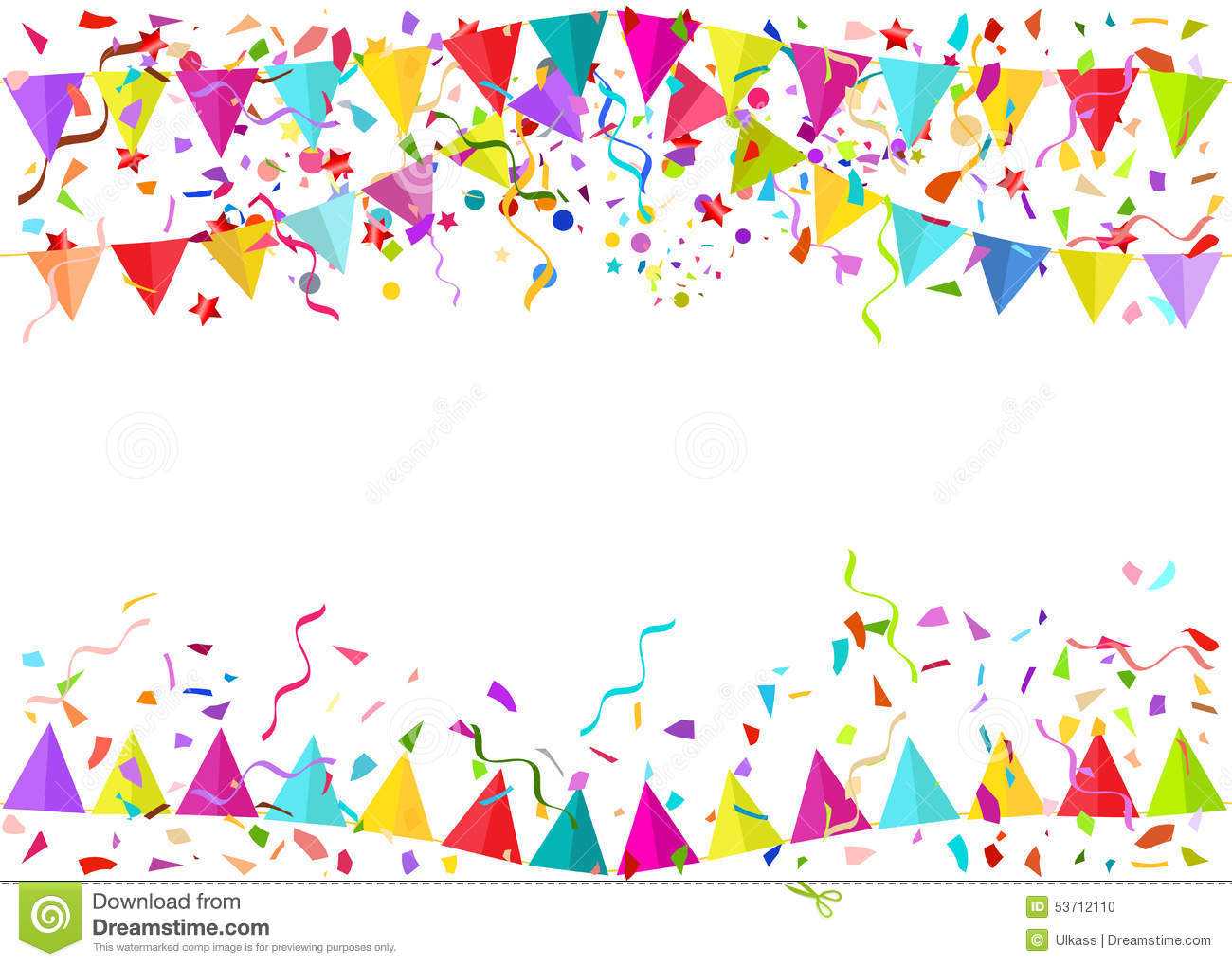 Seamless Vector Background Of Falling Confetti Pieces And