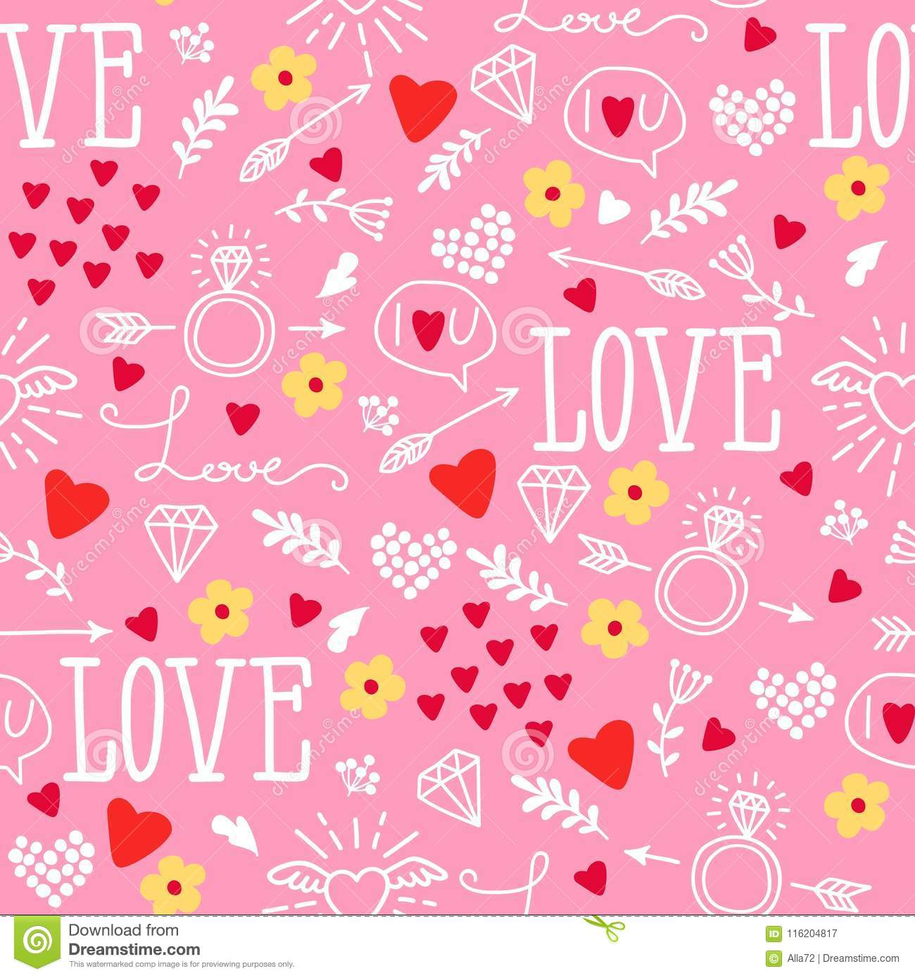 Seamless Vector Background With Hearts Arrows Ringlets Flowers