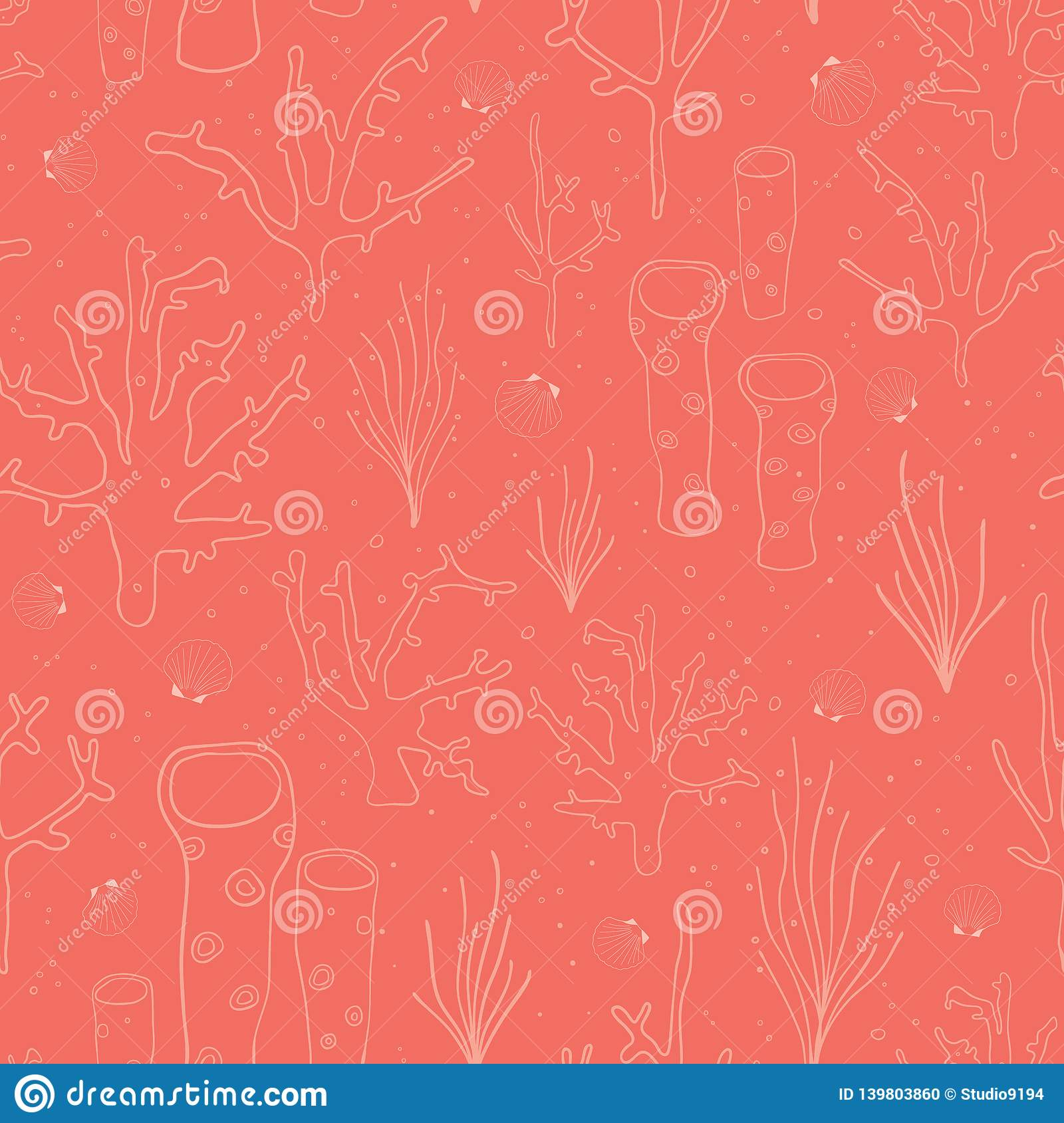 Seamless vector coral reef background. Underwater pattern with corals, sea plants, seaweed, sponge, clams, shells. Hand drawn