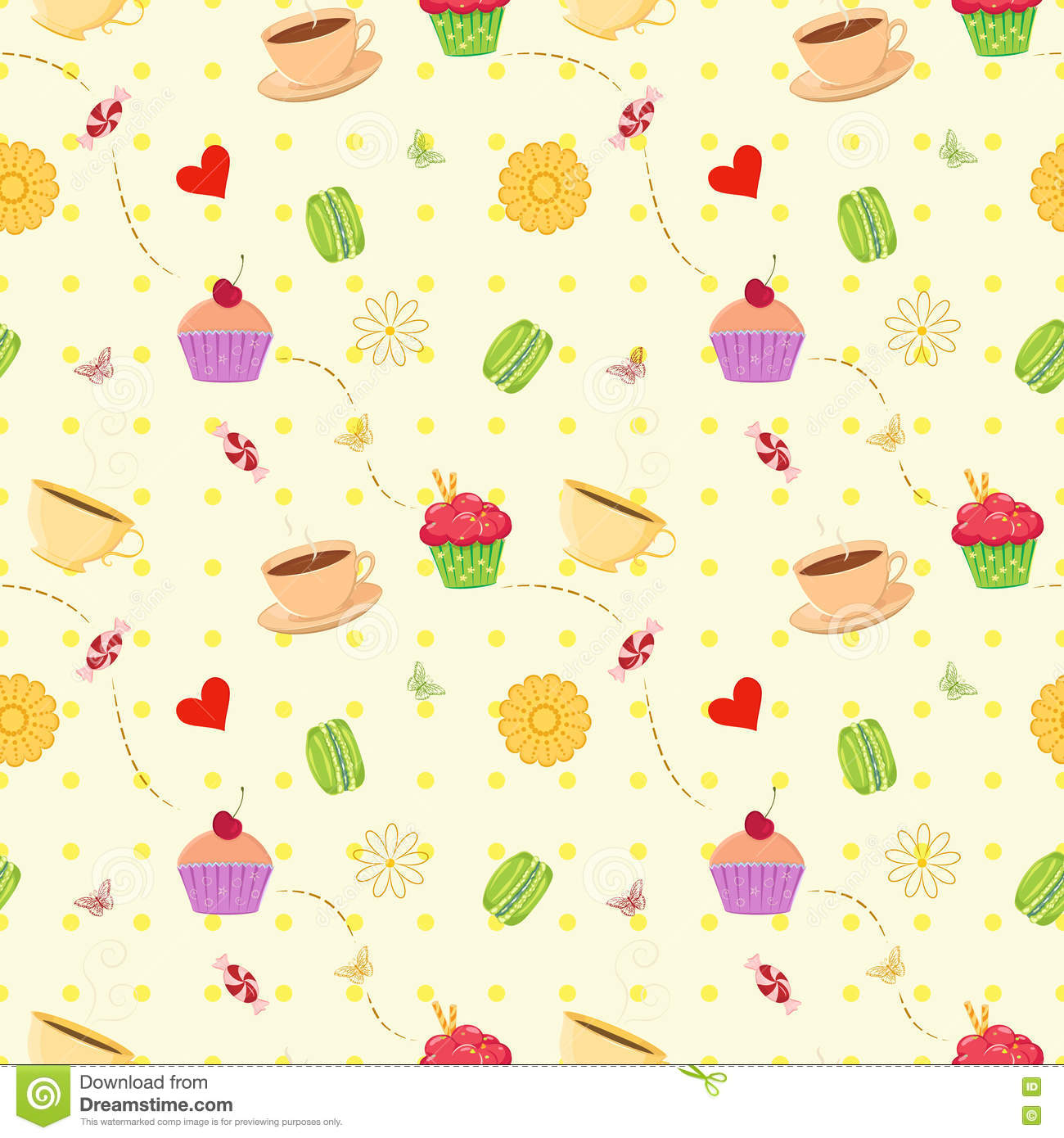 Seamless vector dessert food pattern with cupcakes, macaroons an