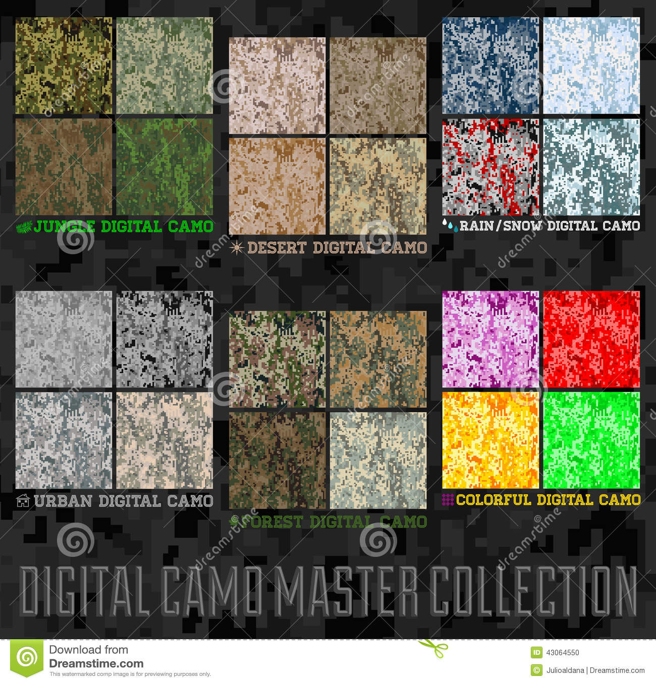 Seamless vector digital Pixel Camouflage collection