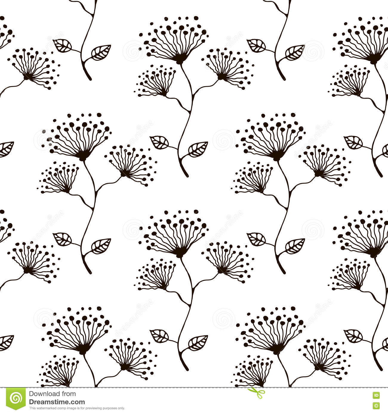 9e4ec8 Seamless Vector Floral Pattern Hand Drawn Black And White