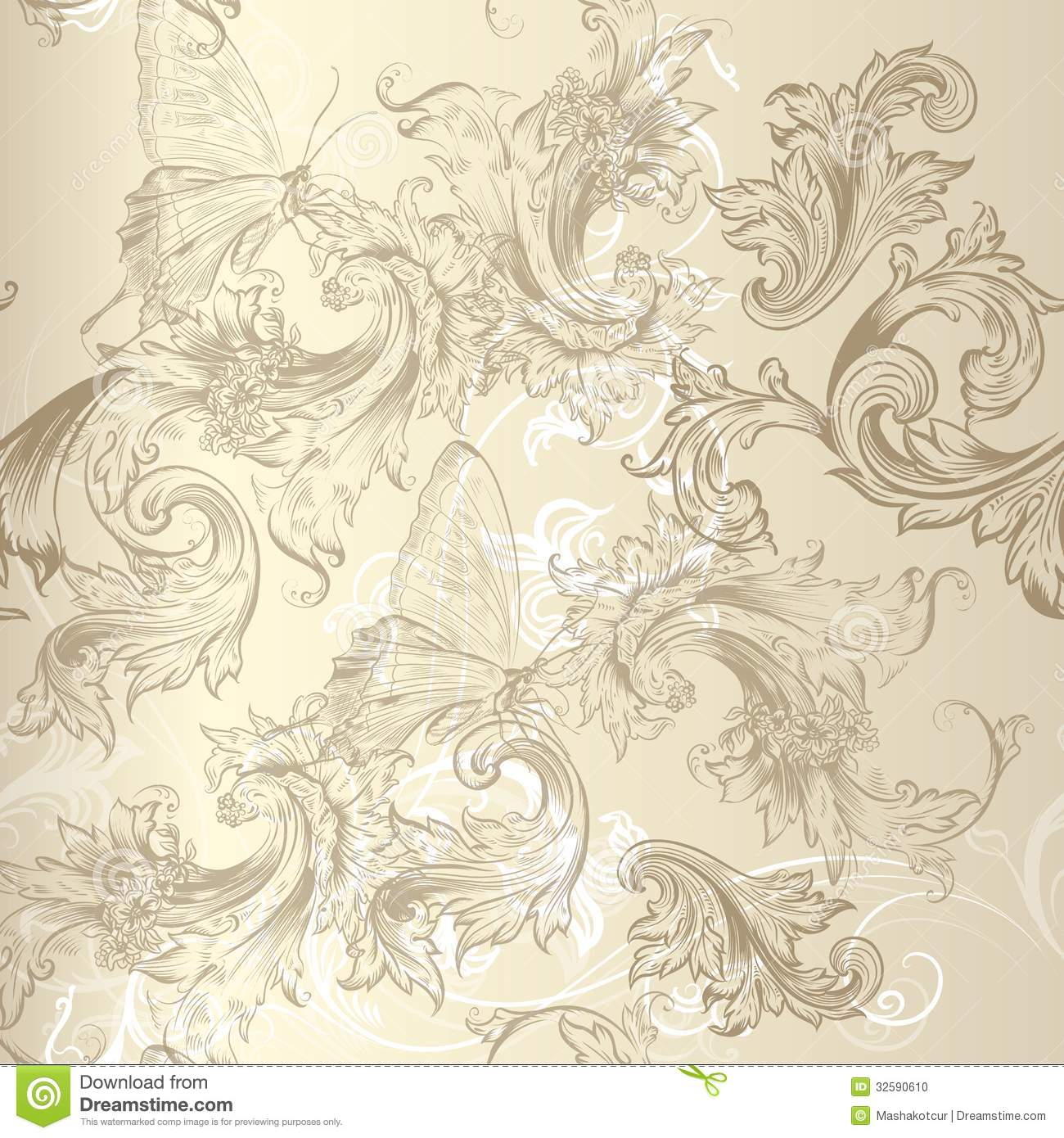 Seamless Vector Floral Pattern In Vintage Style For Design