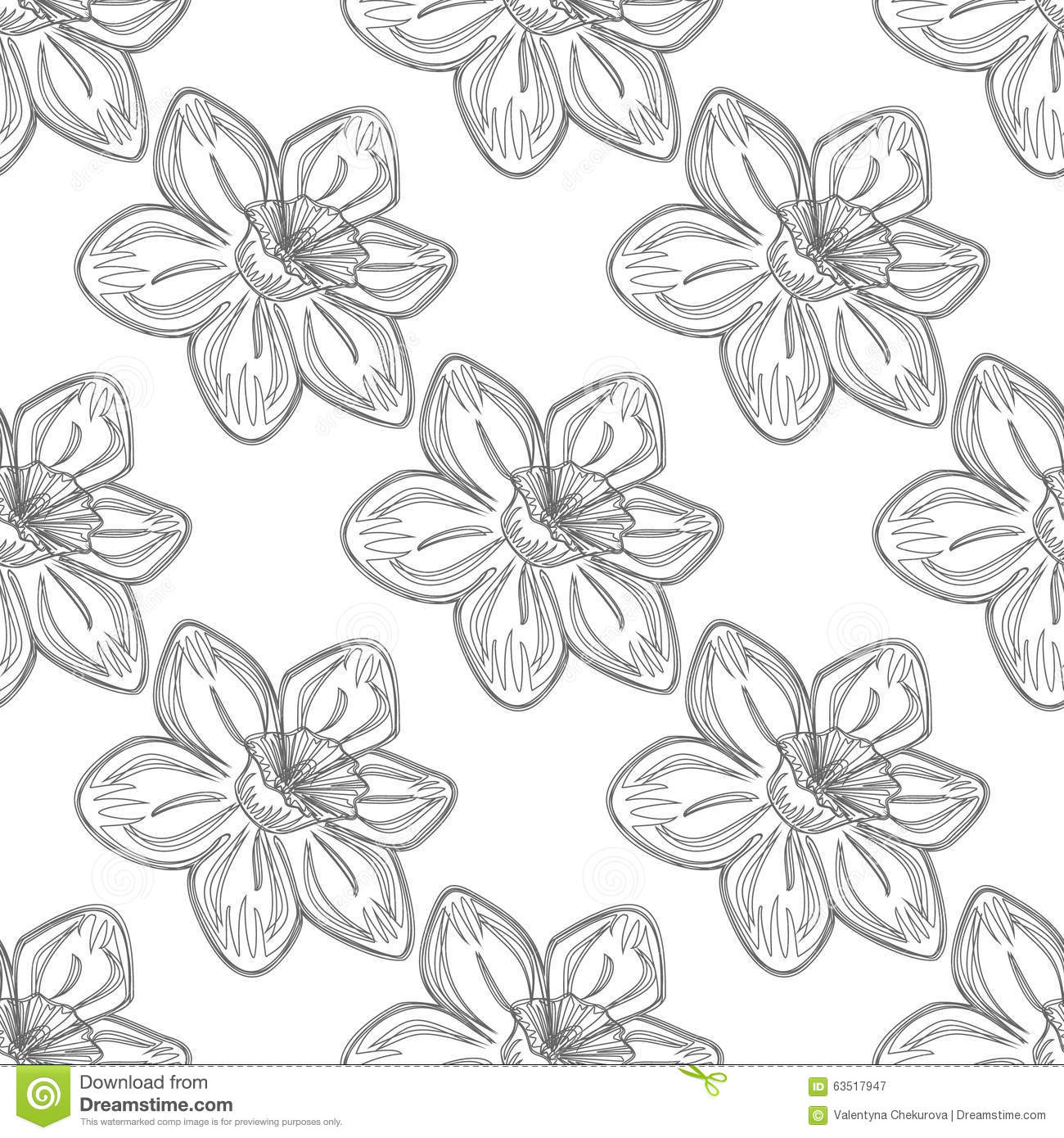 Vector Line Drawing Flower Pattern : Seamless vector flower pattern background with flowers
