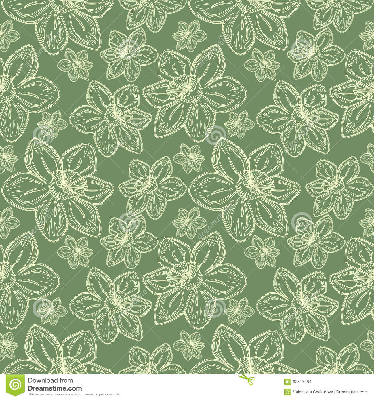 Seamless vector flowers pattern, vintage background with line drawed frowers, over pastel green backdrop