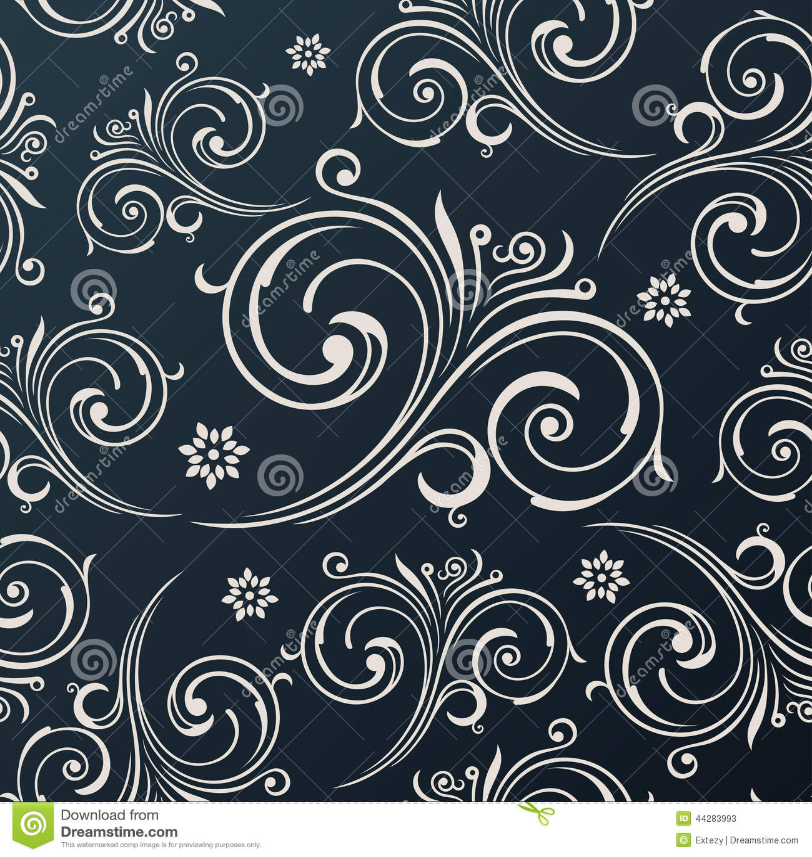 seamless vector flowers wallpaper vintage black background stock