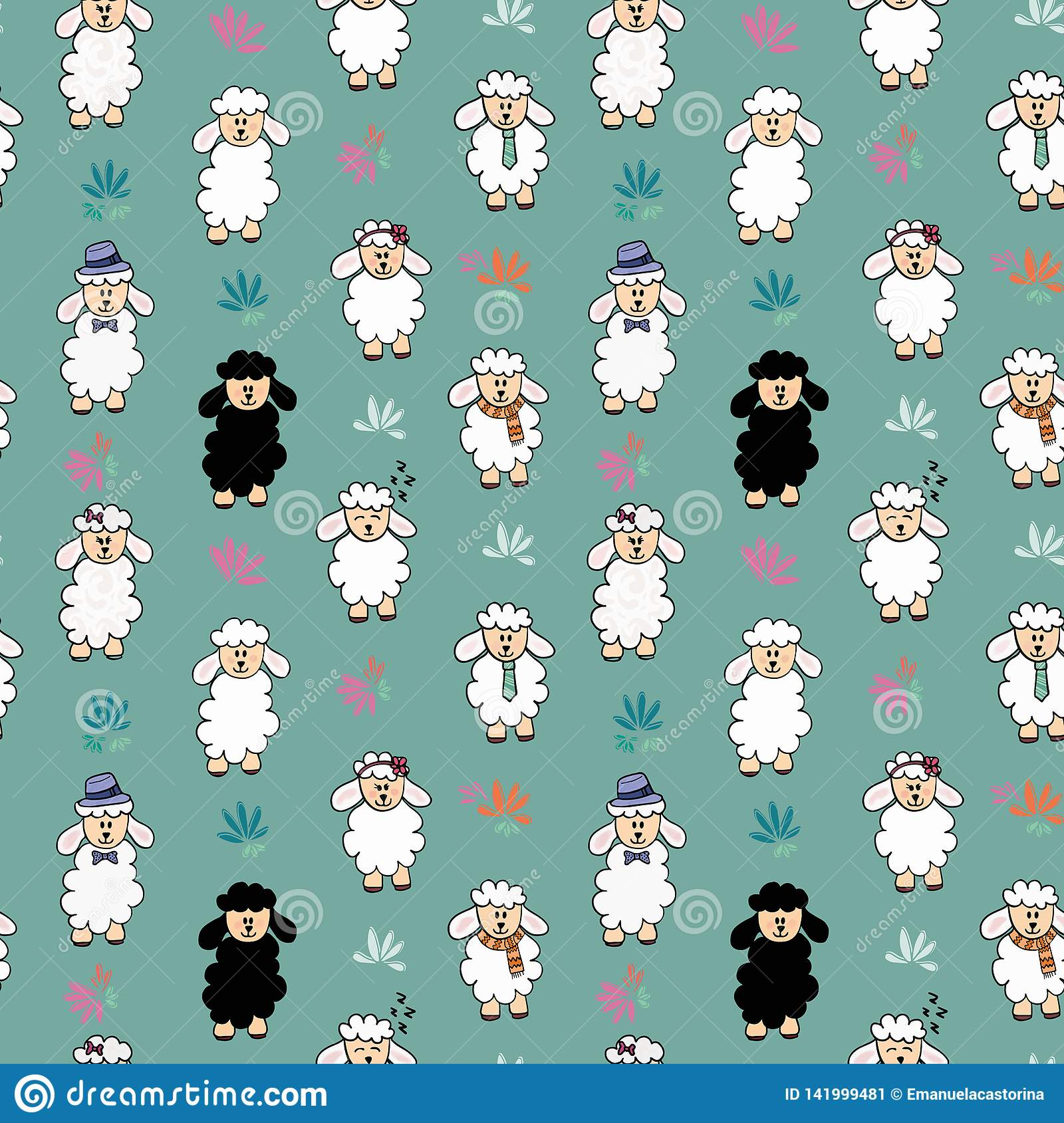 Seamless vector funny sheep background pattern with flower. Sheep with different accessories