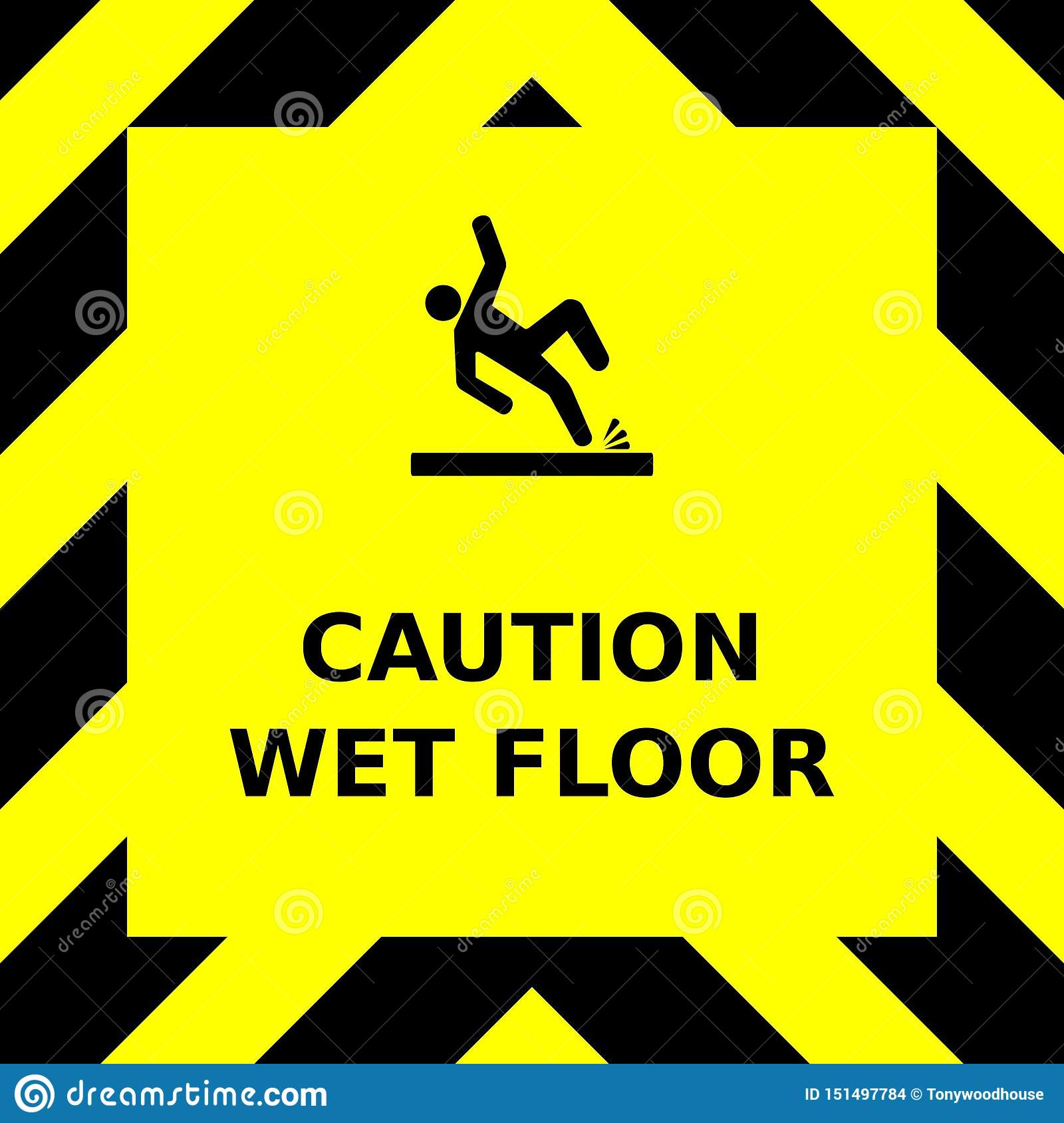 Seamless vector graphic of black upward pointing chevrons on a yellow background with the wording Caution High Voltage