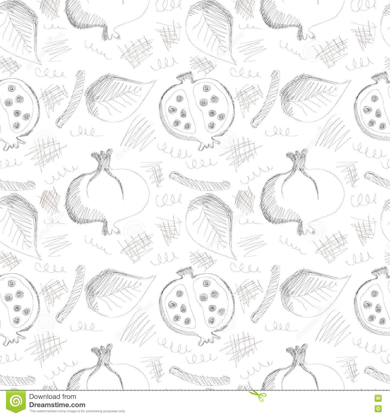 Seamless vector gray pattern with hand drawn pomegranates