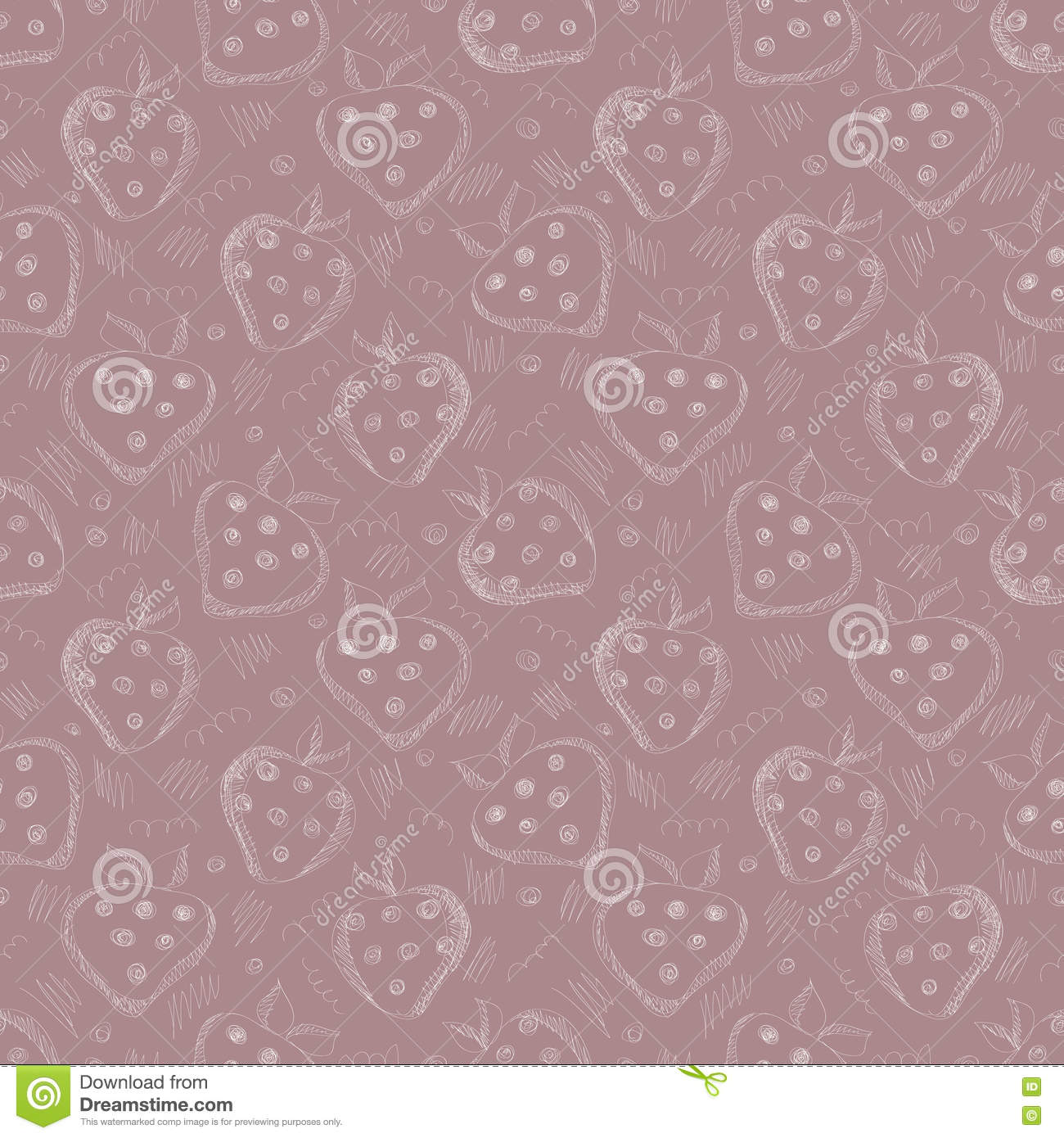 Seamless vector gray pattern with hand drawn strawberries and scribbles on the vinous background.