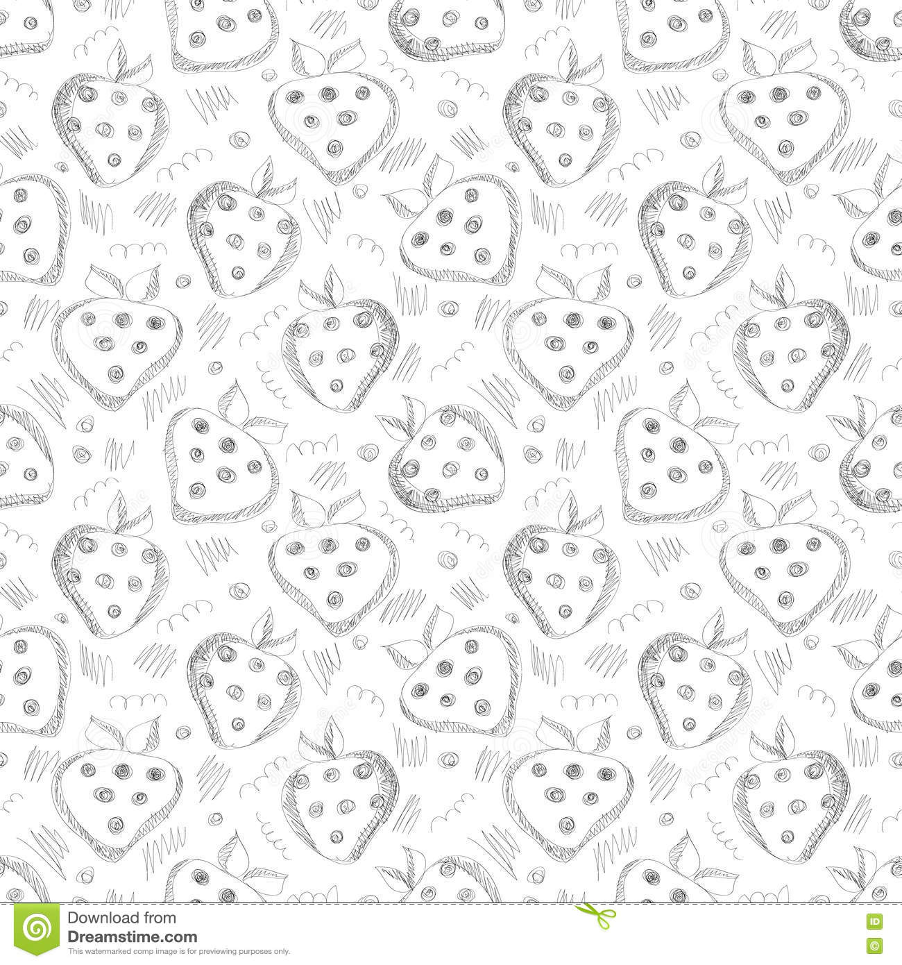 Seamless vector gray pattern with hand drawn strawberries and scribbles on the white background.