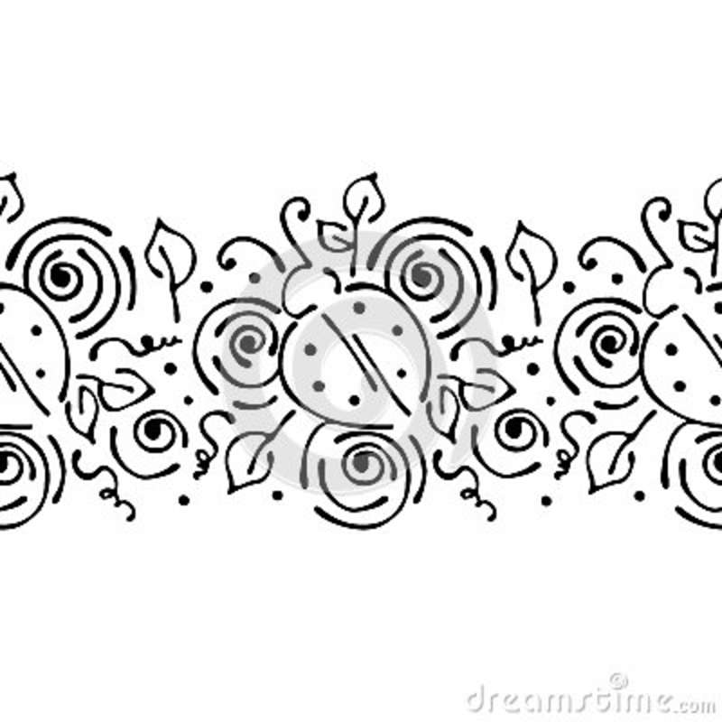 Drawing Lines With Core Graphics : Vector decorative frame with flowers hand drawing