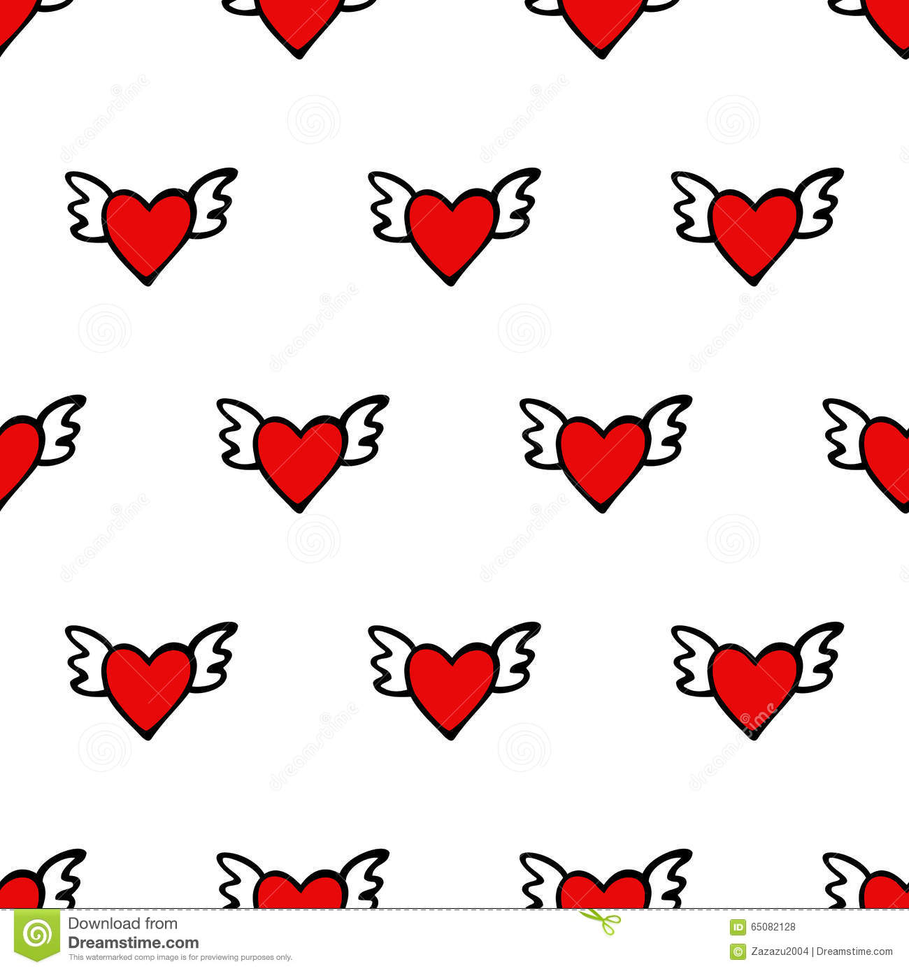 Seamless vector heart pattern for Valentines Day. Cute hearts with wings.
