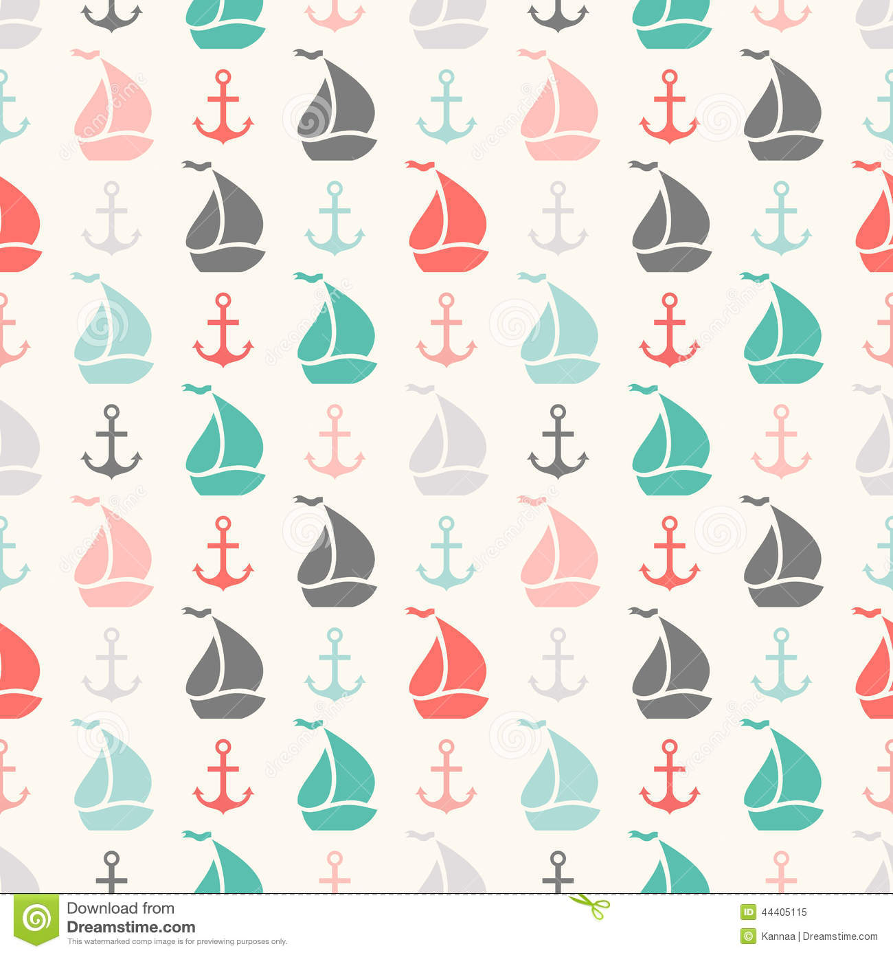 Seamless vector pattern of anchor and sailboat