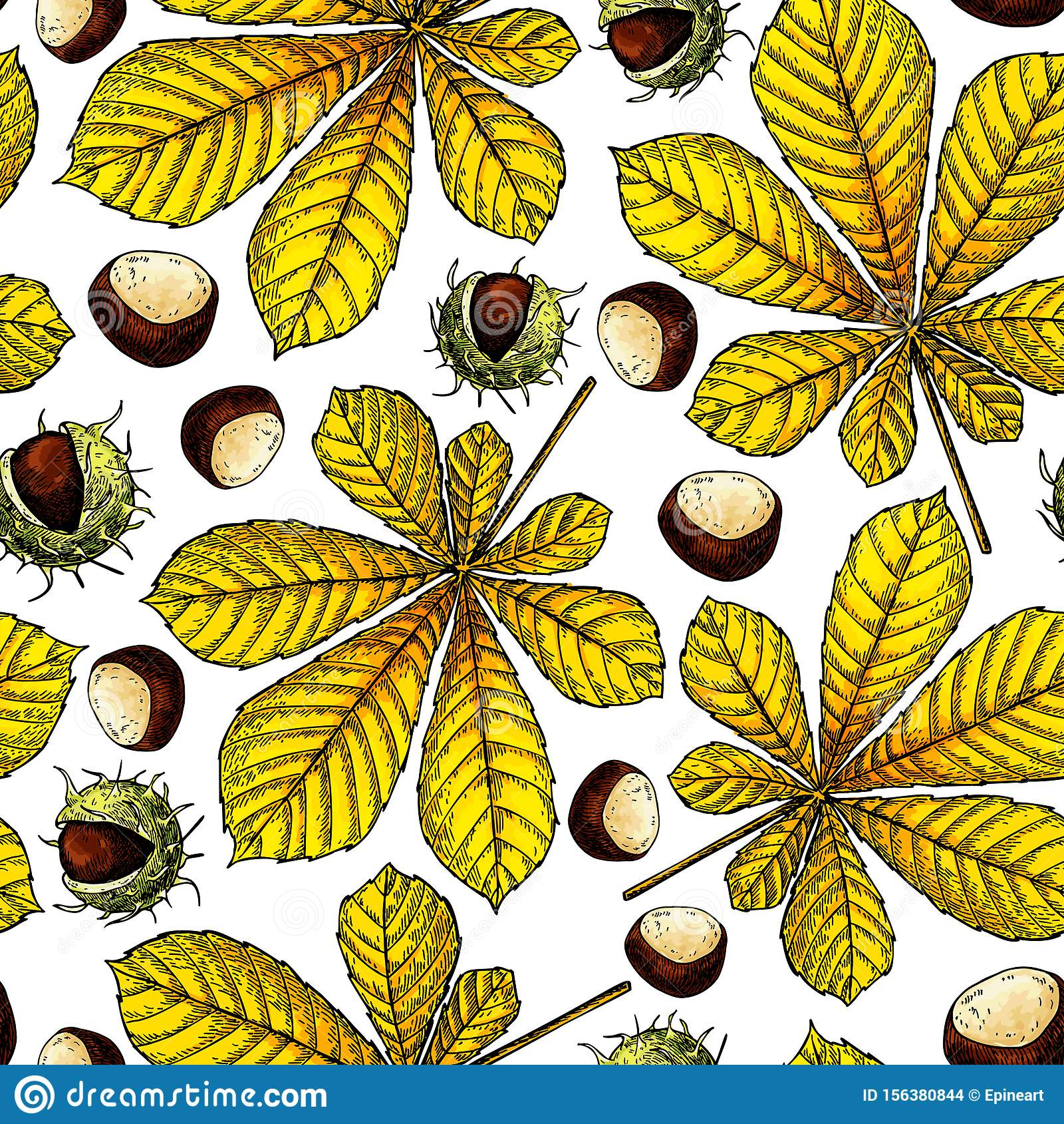 Seamless Vector Pattern With Autumn Leaves. Chestnut Leaf And Nuts ...