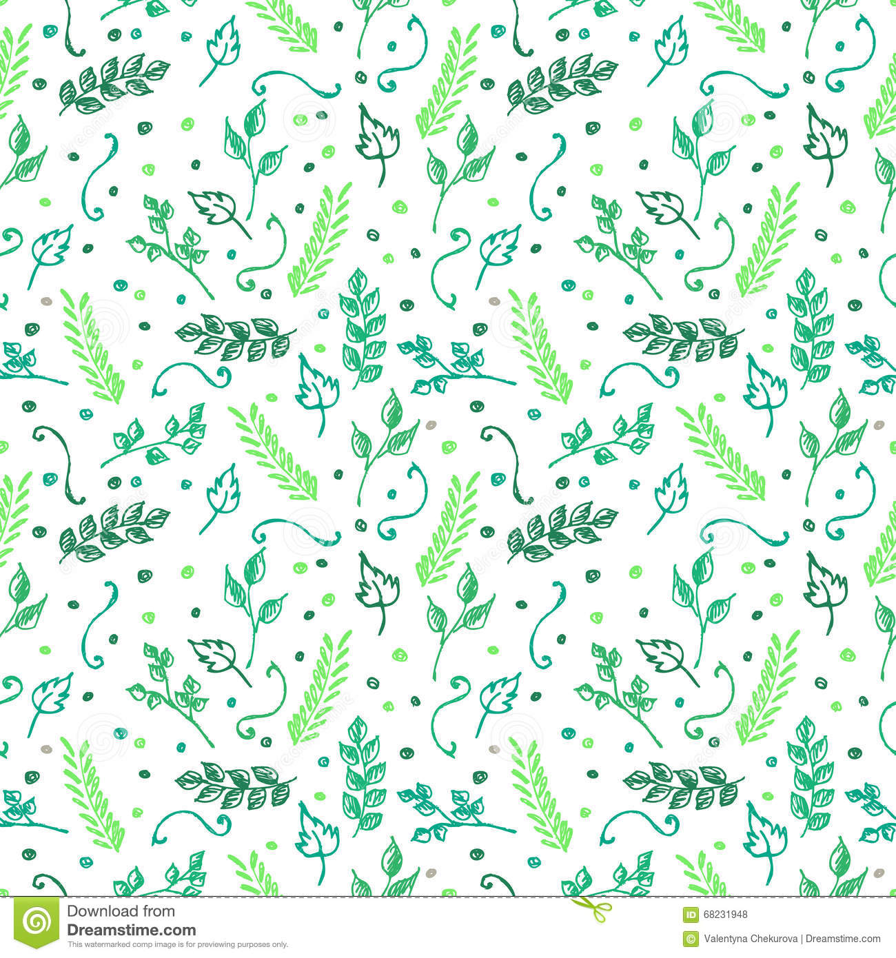 Seamless vector pattern, background with colorful branches and leaves on the white backdrop.