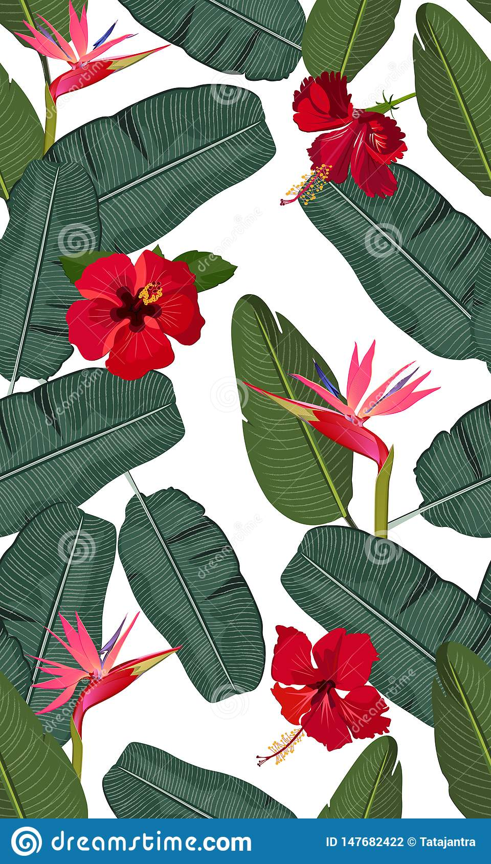 Seamless vector pattern banana leaves with red hibiscus flower and pink bird of paradise