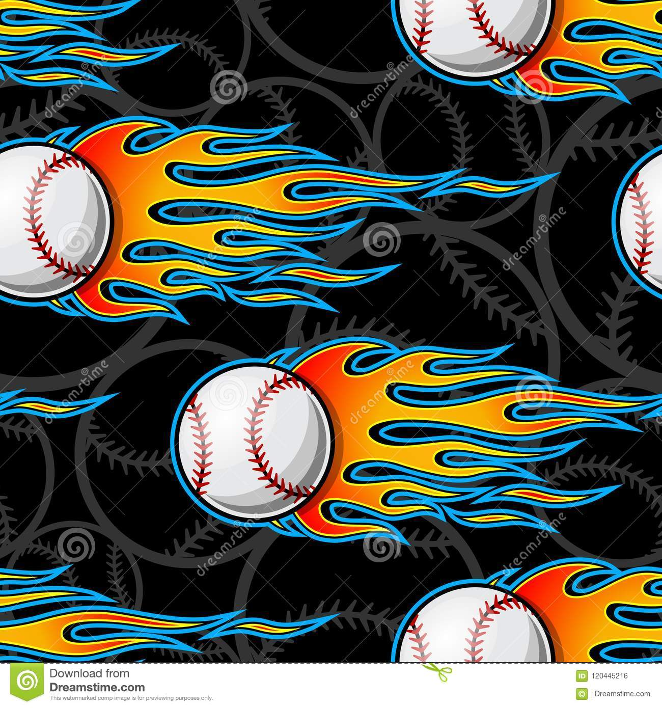 Seamless Vector Pattern With Baseball Softball Ball Icon And Flame Stock Vector Illustration Of Fast Fire 120445216