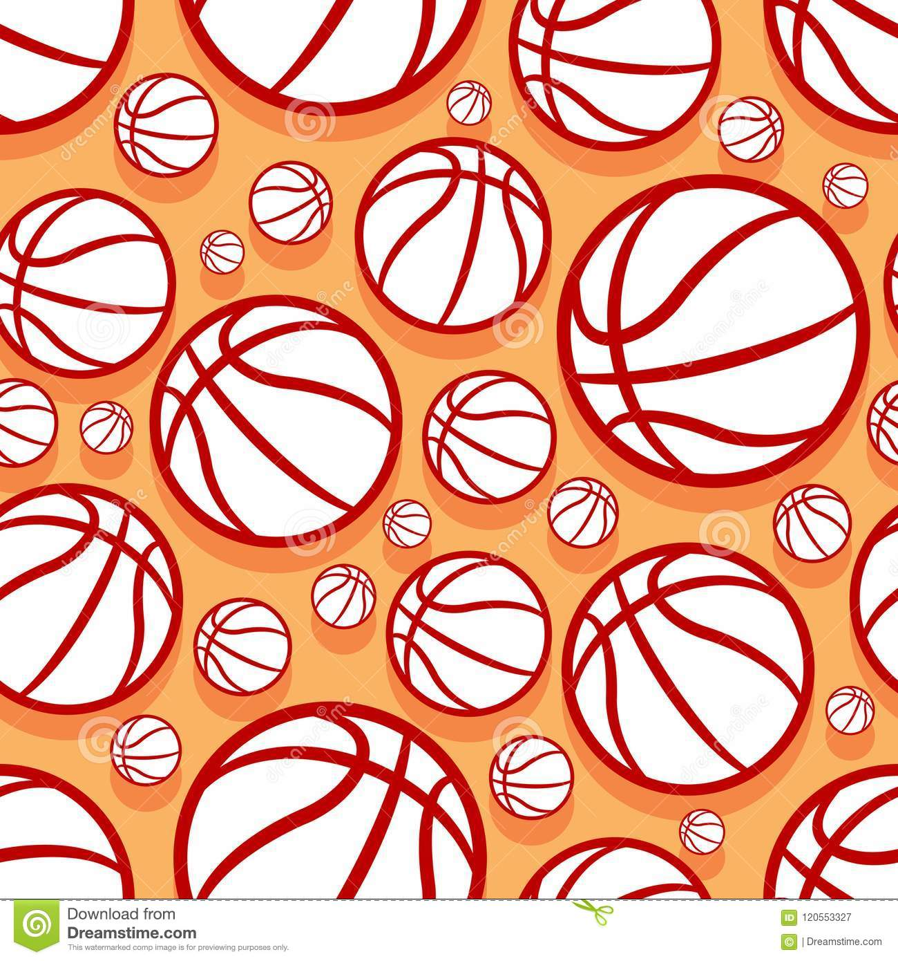 Seamless Vector Pattern With Basketball Balls Stock Vector