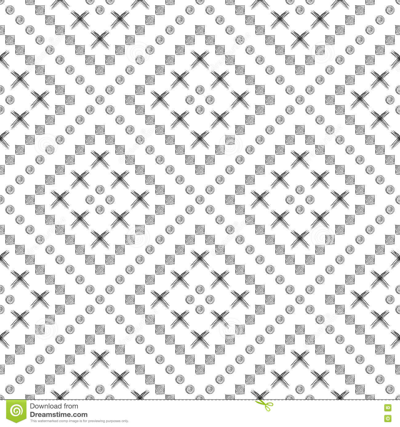 Seamless Vector Pattern Black And White Geometrical Background With